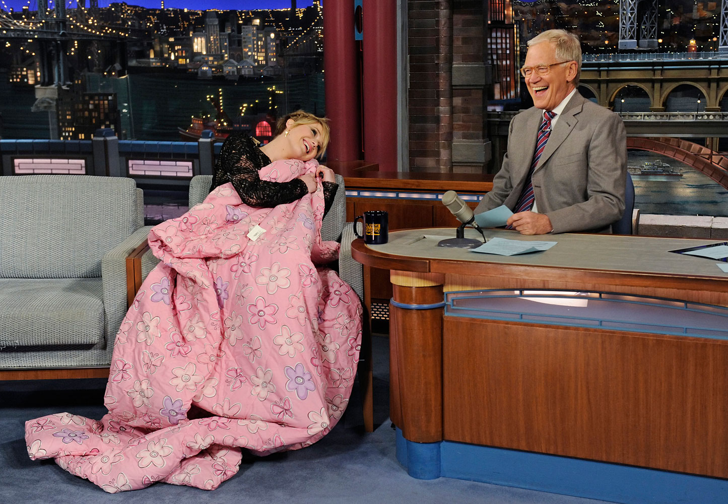 She also got chummy with David Lettermen on the Late Show.