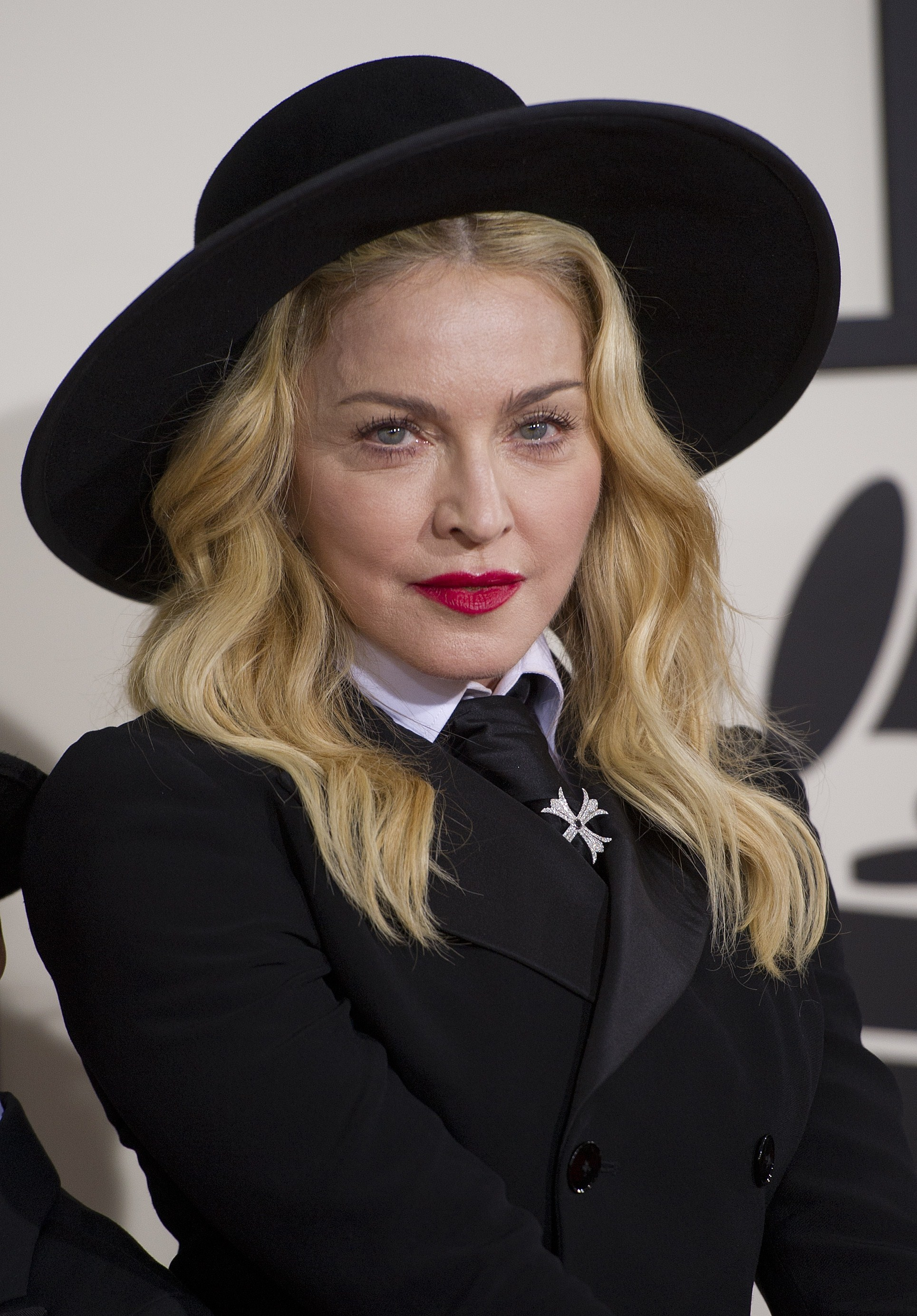 Madonna arrives on the red carpet for the 56th Grammy Awards at the Staples Center in Los Angeles on Jan. 26, 2014.