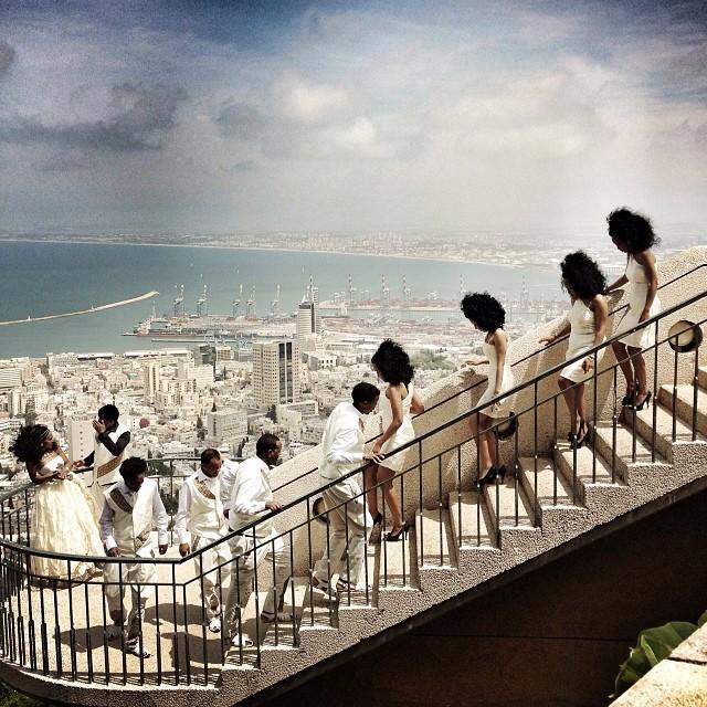 Eritrean wedding in Haifa today. #israel #wedding #lovemypeople #haifa #bahaigarden #view #eritrea #stairs