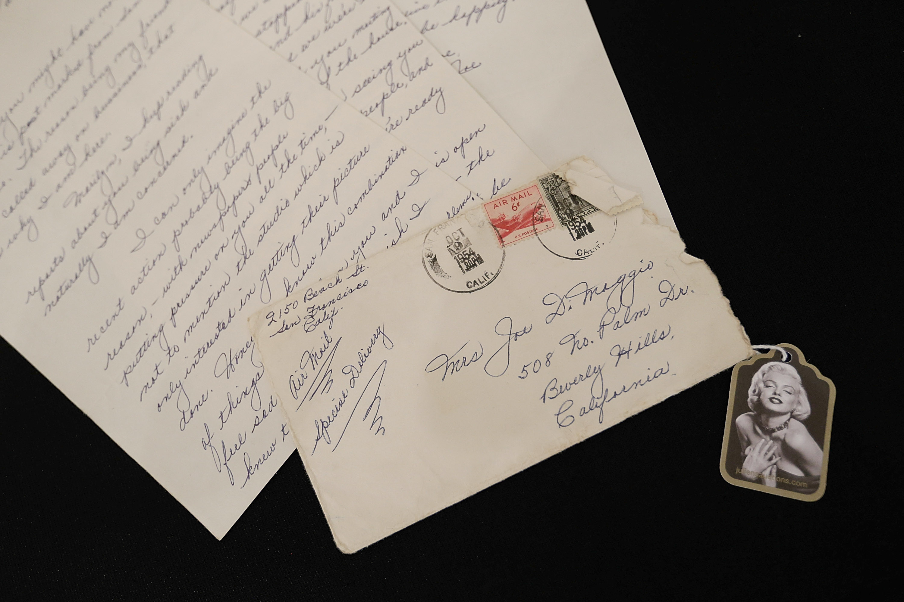 Love letters from Joe DiMaggio displayed at the  Marilyn Monroe: The Lost Archives  press preview at The Ross Art Group on Nov. 25, 2014 in New York City.