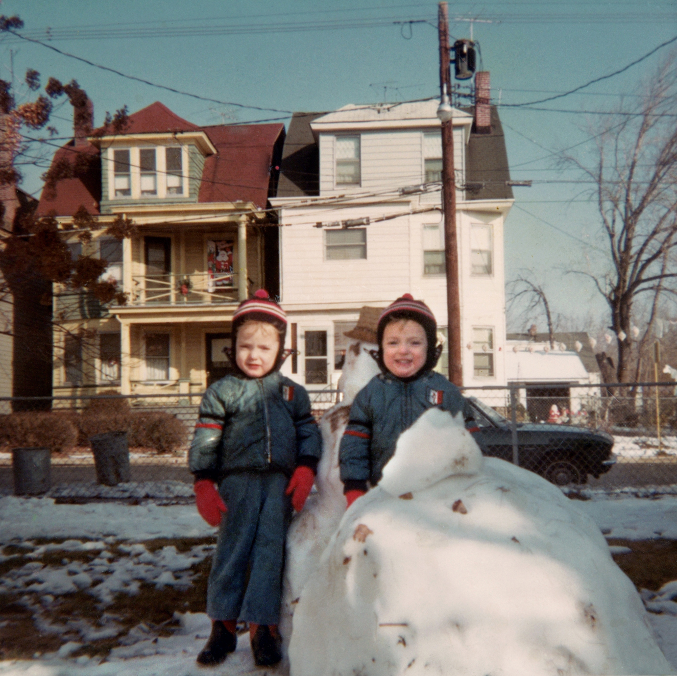 Mark and Scott building a snowman  in West Orange, N.J in Dec. 1966.