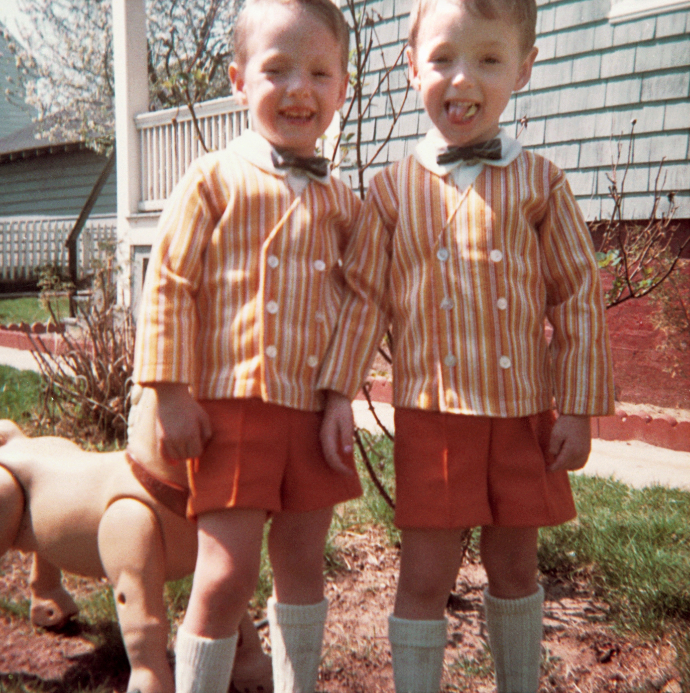 At age 3, Scott, left, and Mark wearing matching attire in 1967.