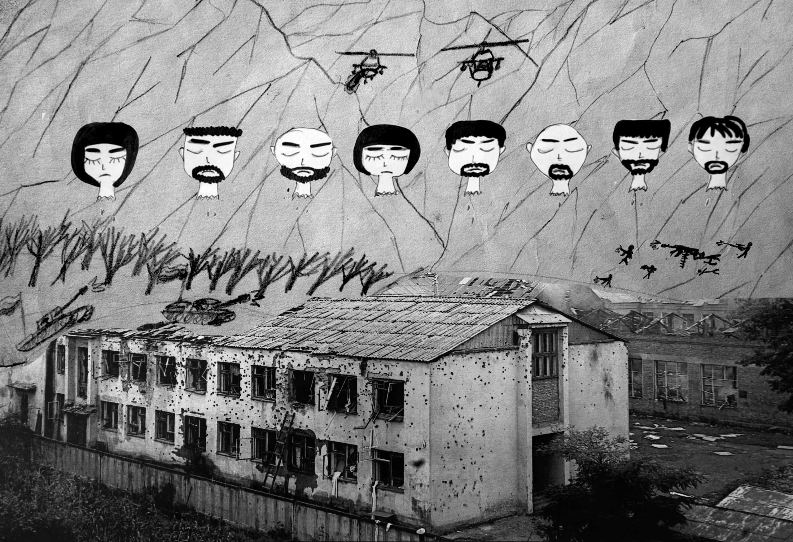 School No.1 in Beslan, Russia, days after the siege. Drawings in this project are from survivors, and have been integrated into photos of the hostage location.