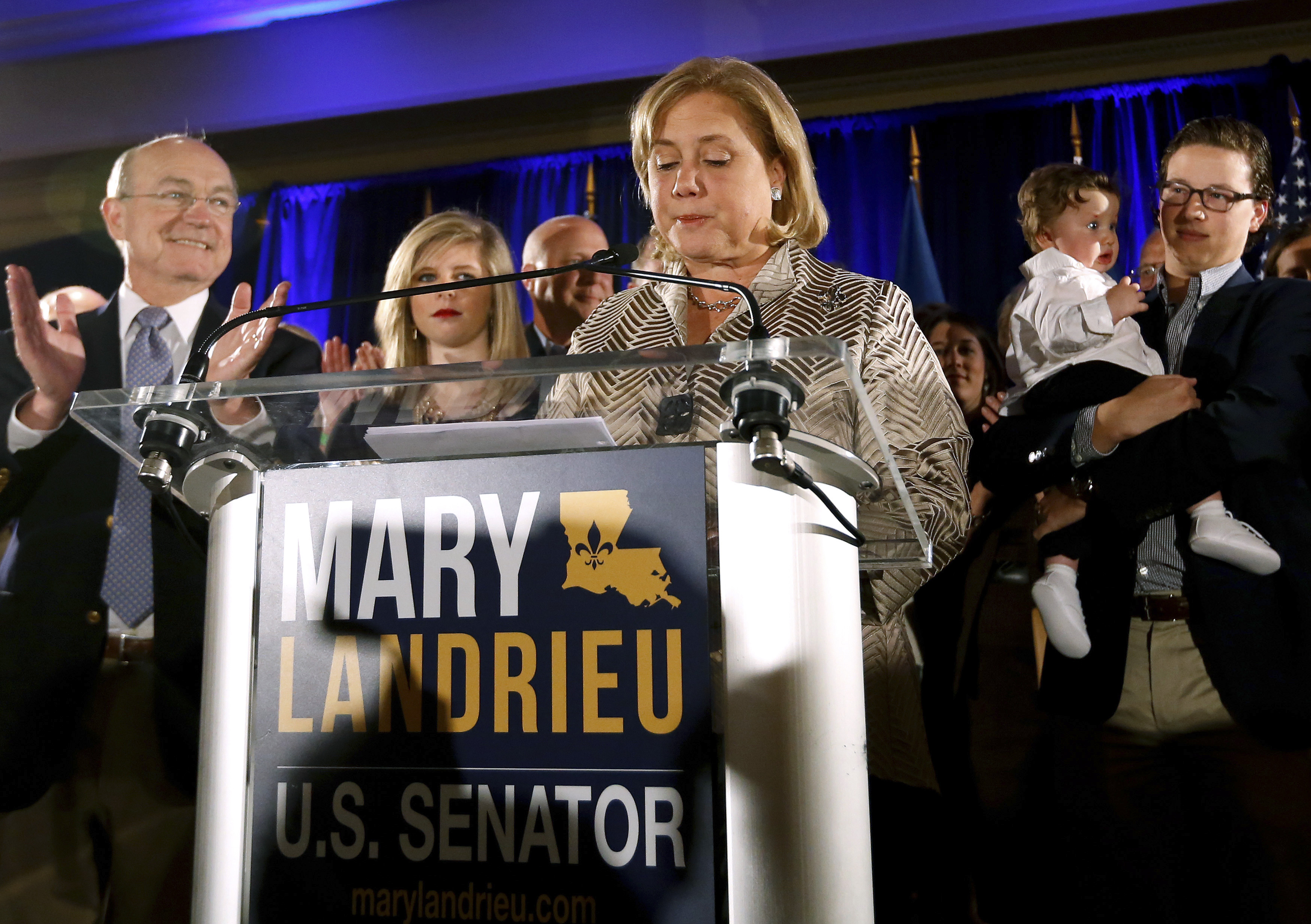 Democratic Senator Mary Landrieu delivers a concession speech after the results of the U.S. Senate race in New Orleans on Dec. 6, 2014.