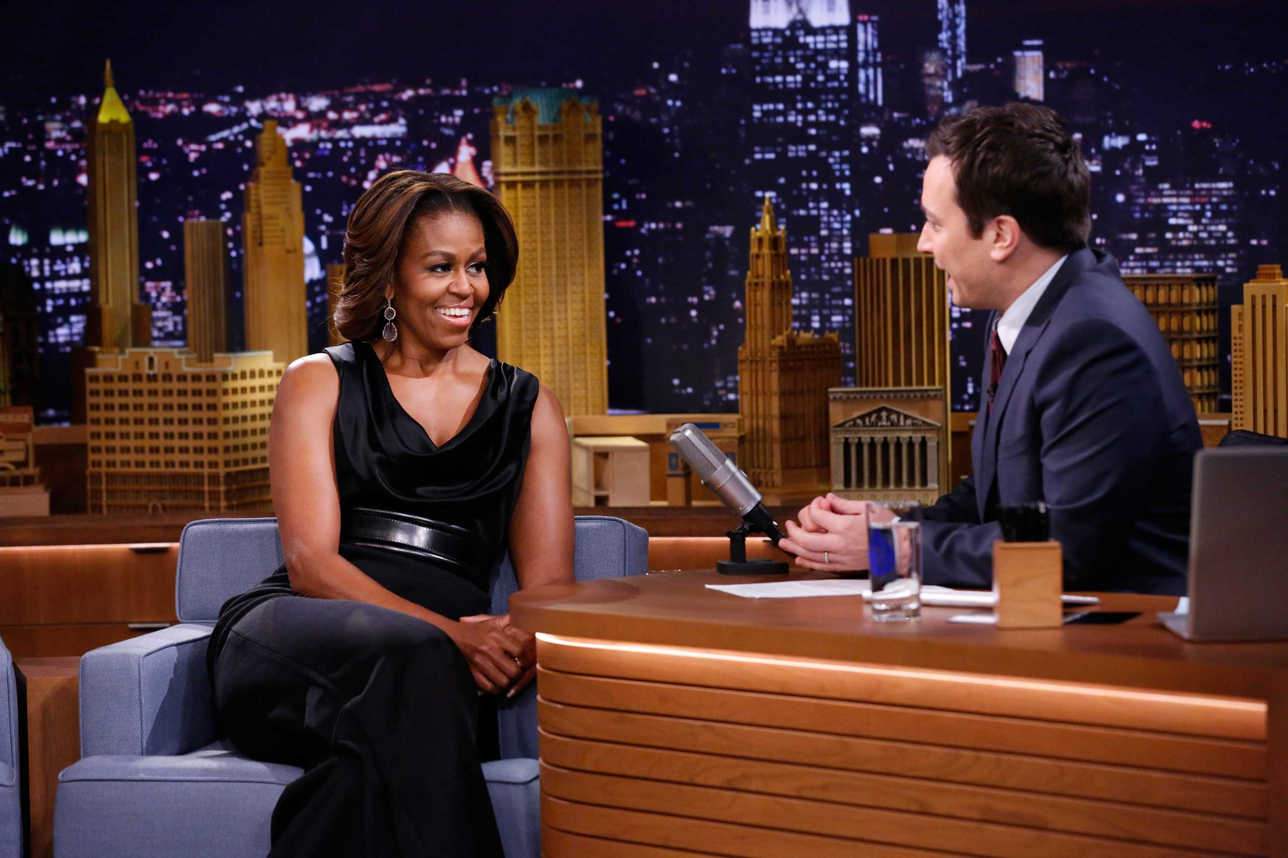 """For this February appearance on """"The Tonight Show"""" with Jimmy Fallon, Obama went with a sleeveless jumpsuit, showing off her toned arms."""