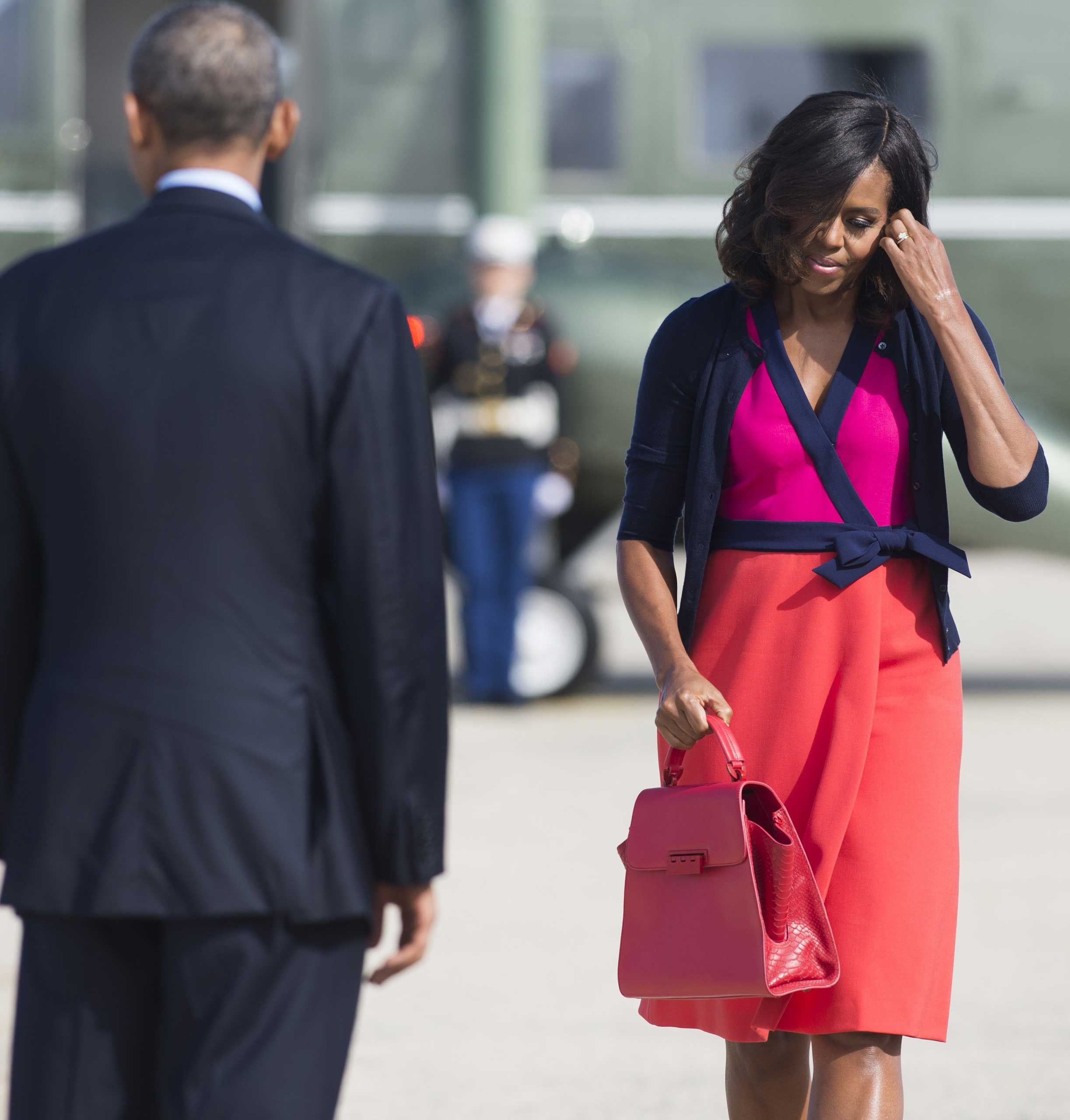 During a visit to New York for the United Nations General Assembly, Obama wore a colorful wrap from Diane von Furstenberg.