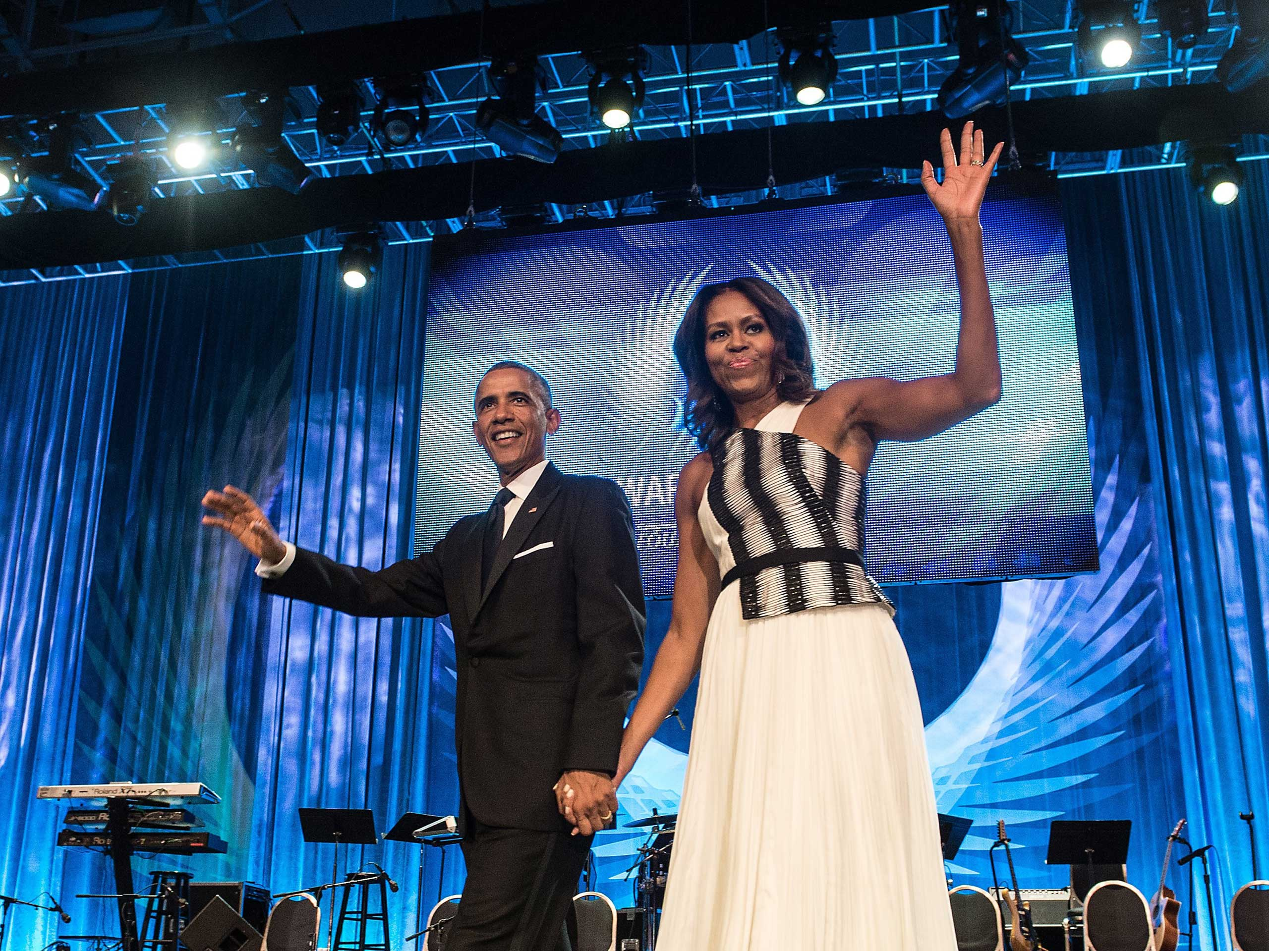 At an awards dinner held by the Congressional Black Caucus Foundation, Obama chose a dress from Bibhu Mohapatra's fall collection.