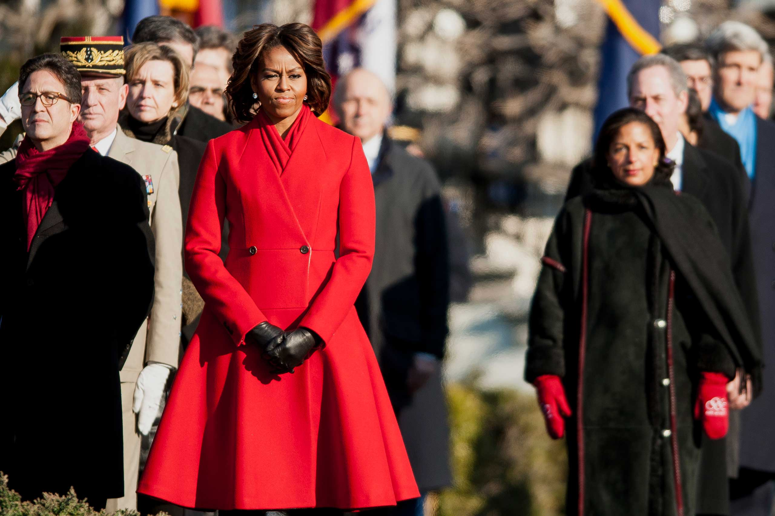 Never one to shy away from color, Obama donned a bold red coat for a visit from French President Francois Hollande in February.