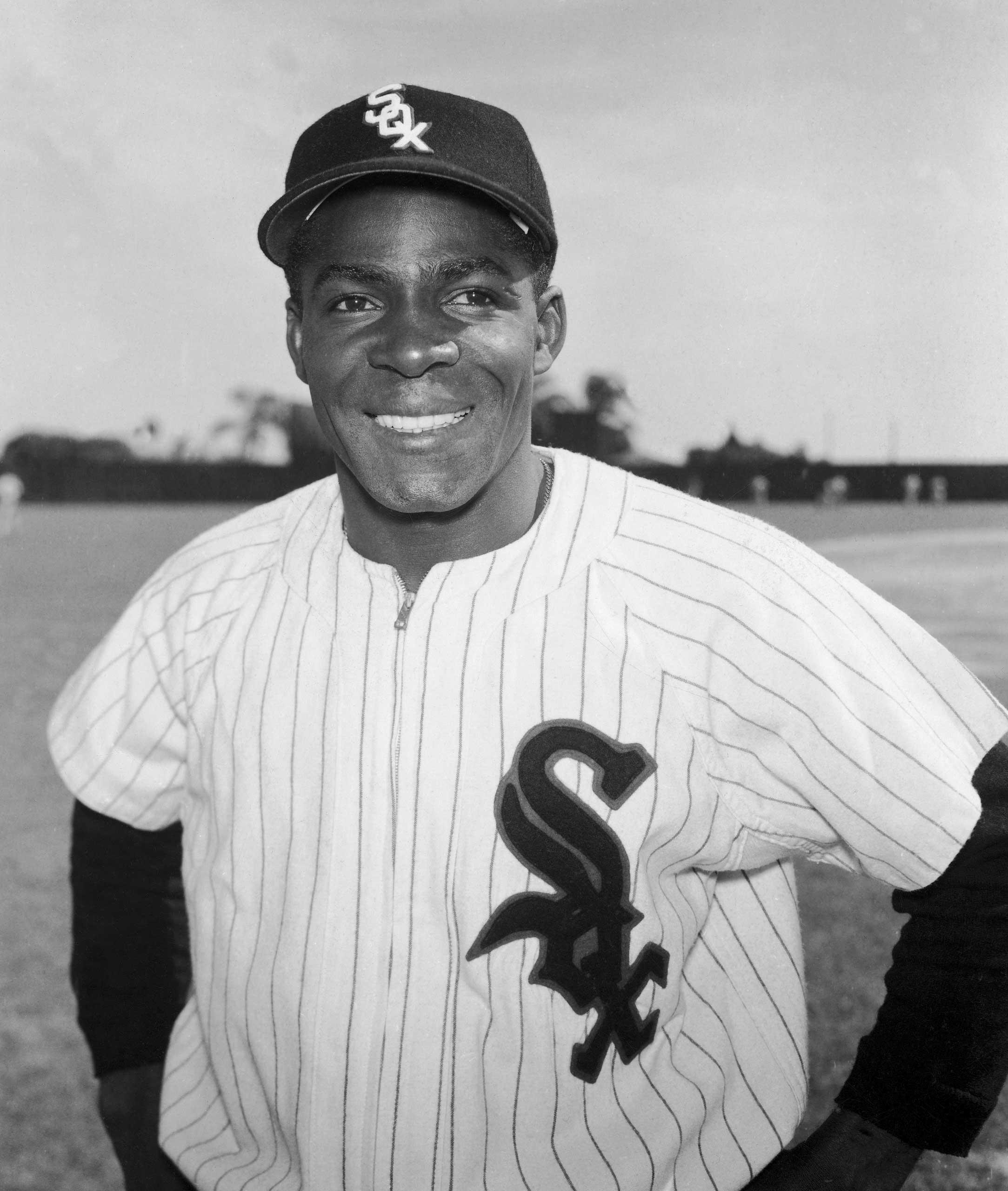Portrait of Cuban-born Chicago White Sox baseball player Orestes 'Minnie' Minoso, circa 1955.