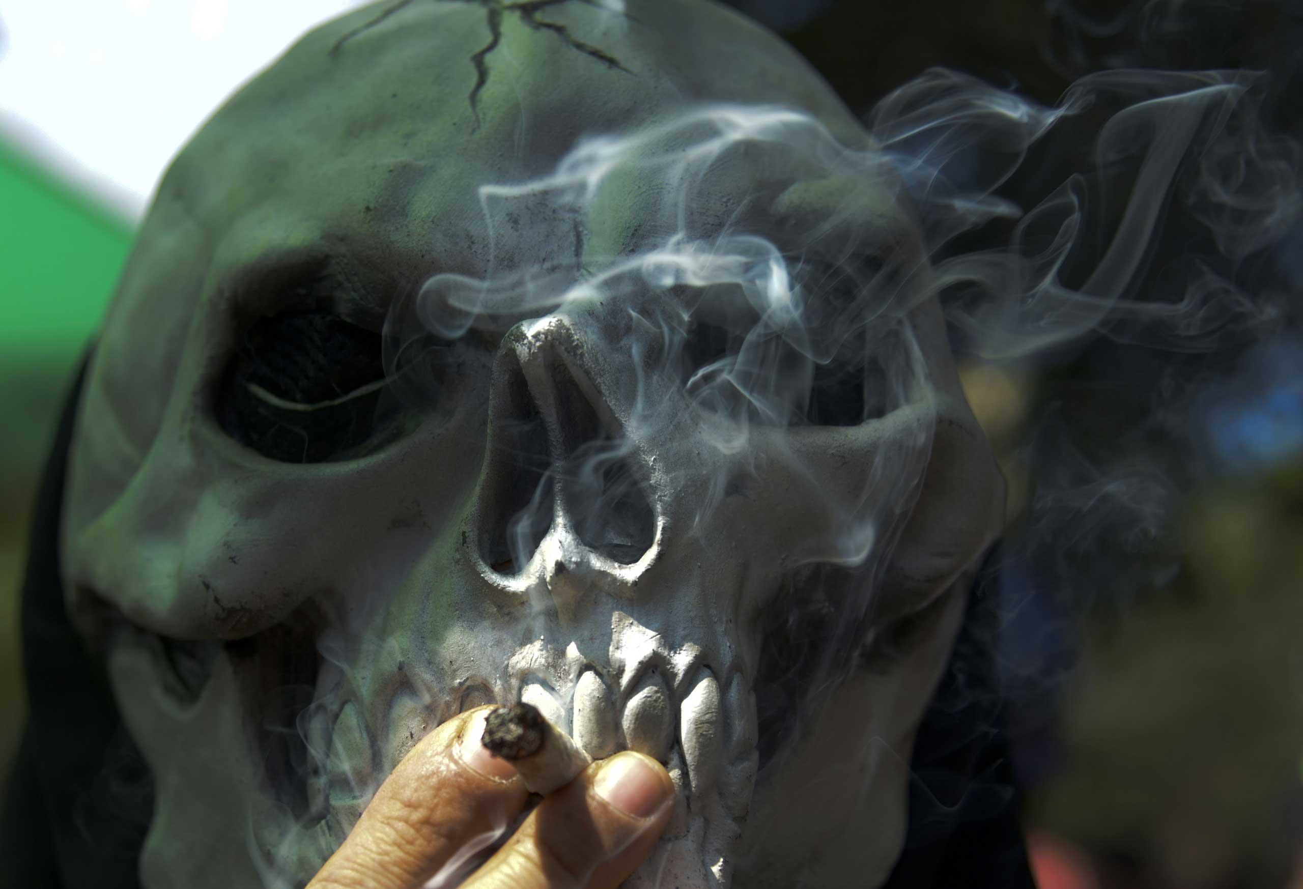 A masked person smokes marijuana during the World Day for the Legalization of Marijuana in Medellin, Colombia,  May 3, 2014.