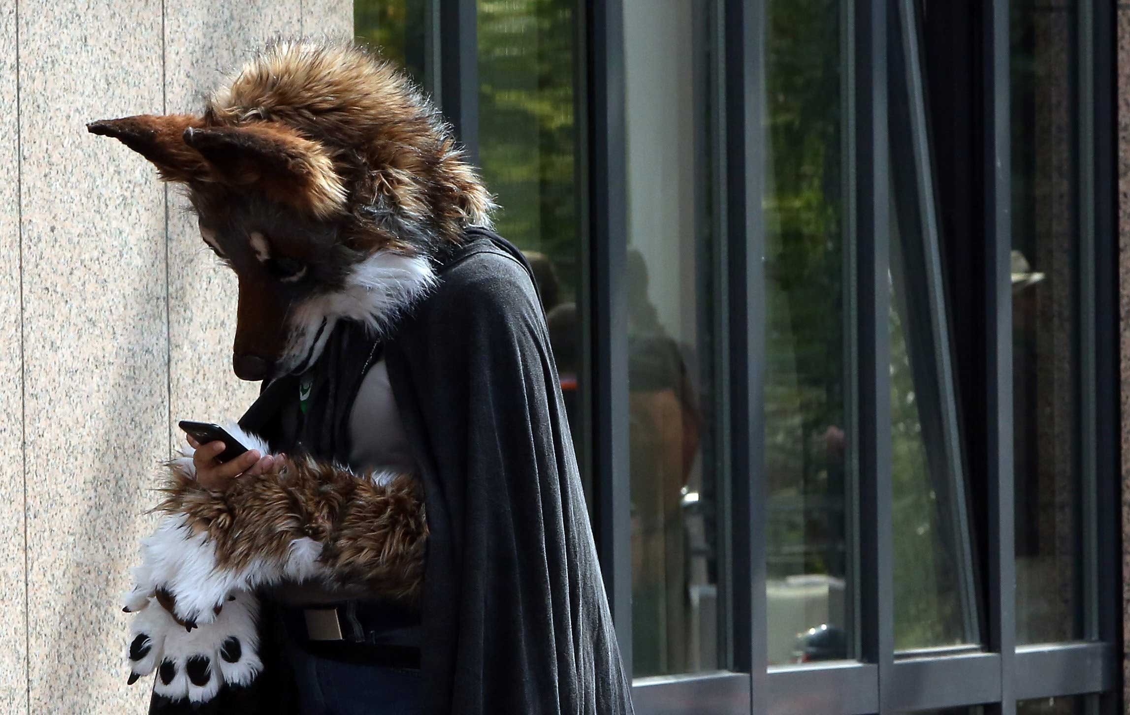 A Furry enthusiast uses a mobile phone as he attends the Eurofurence 2014 conference in Berlin, Aug. 22, 2014.