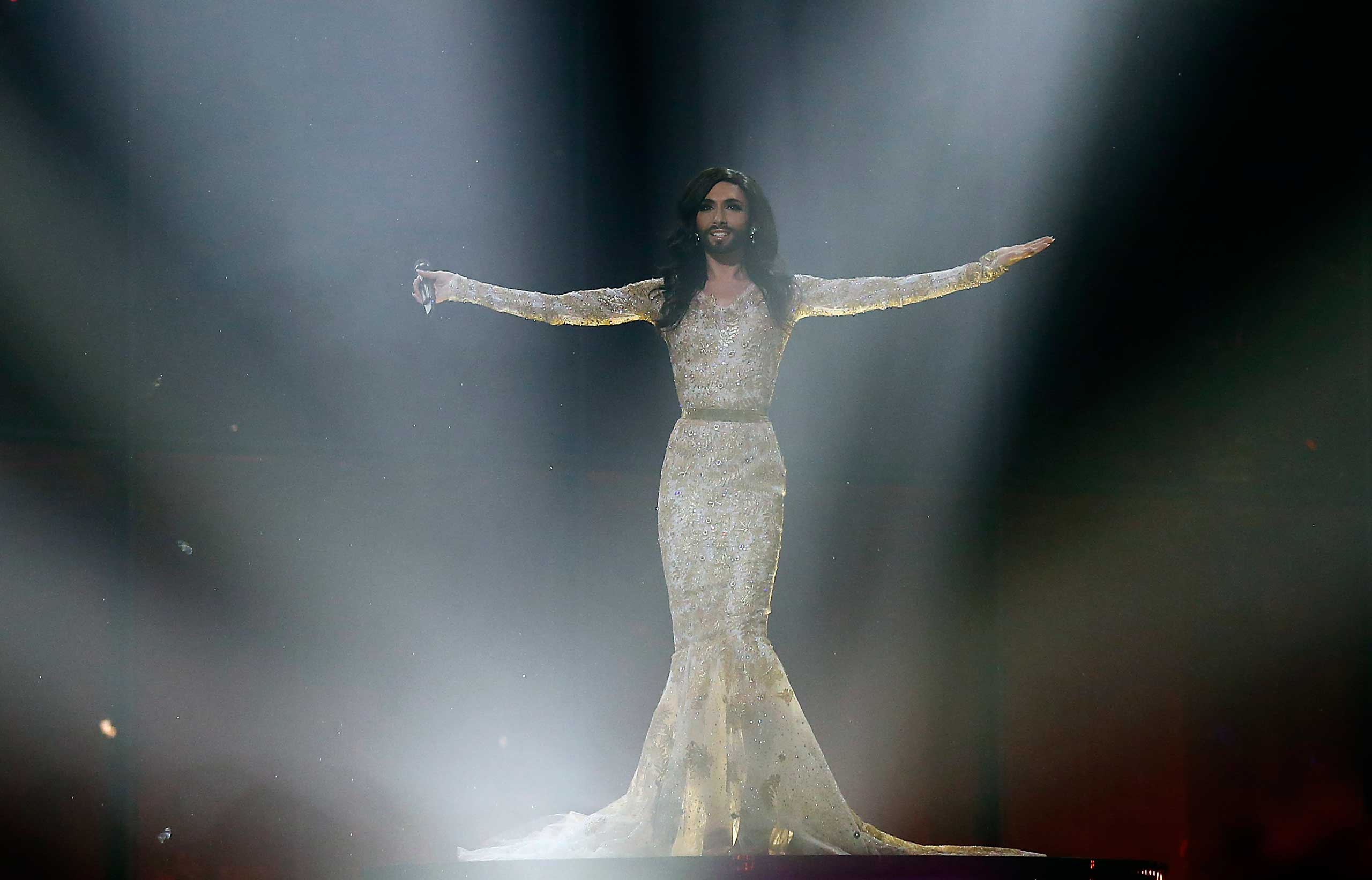 Singer Conchita Wurst is seen during a rehearsal for the second semifinal of the Eurovision Song Contest in Copenhagen, May 7, 2014.