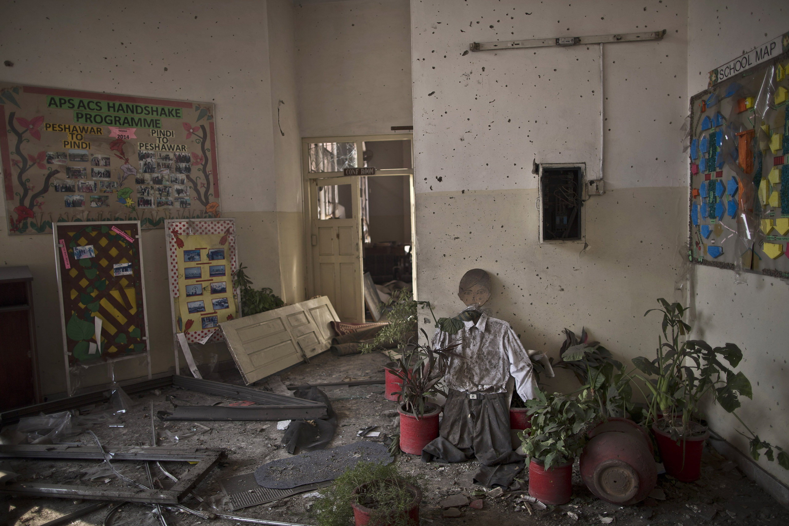 A damaged room inside the Army Public School, which was attacked on Dec. 16 by the Pakistani Taliban. Peshawar, Pakistan. Dec. 18, 2014.