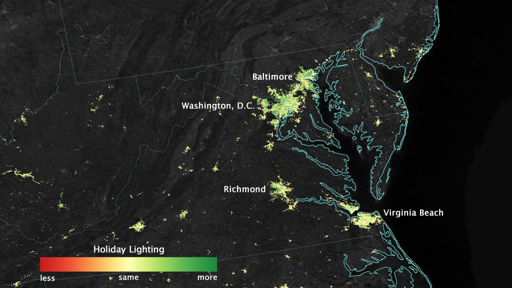 City lights shine brighter during the holidays in the U.S. when compared with the rest of the year, as shown using a new analysis of daily data from the NASA-NOAA Suomi NPP satellite. Dark green pixels are areas where lights are 50 percent brighter, or more, during December.
