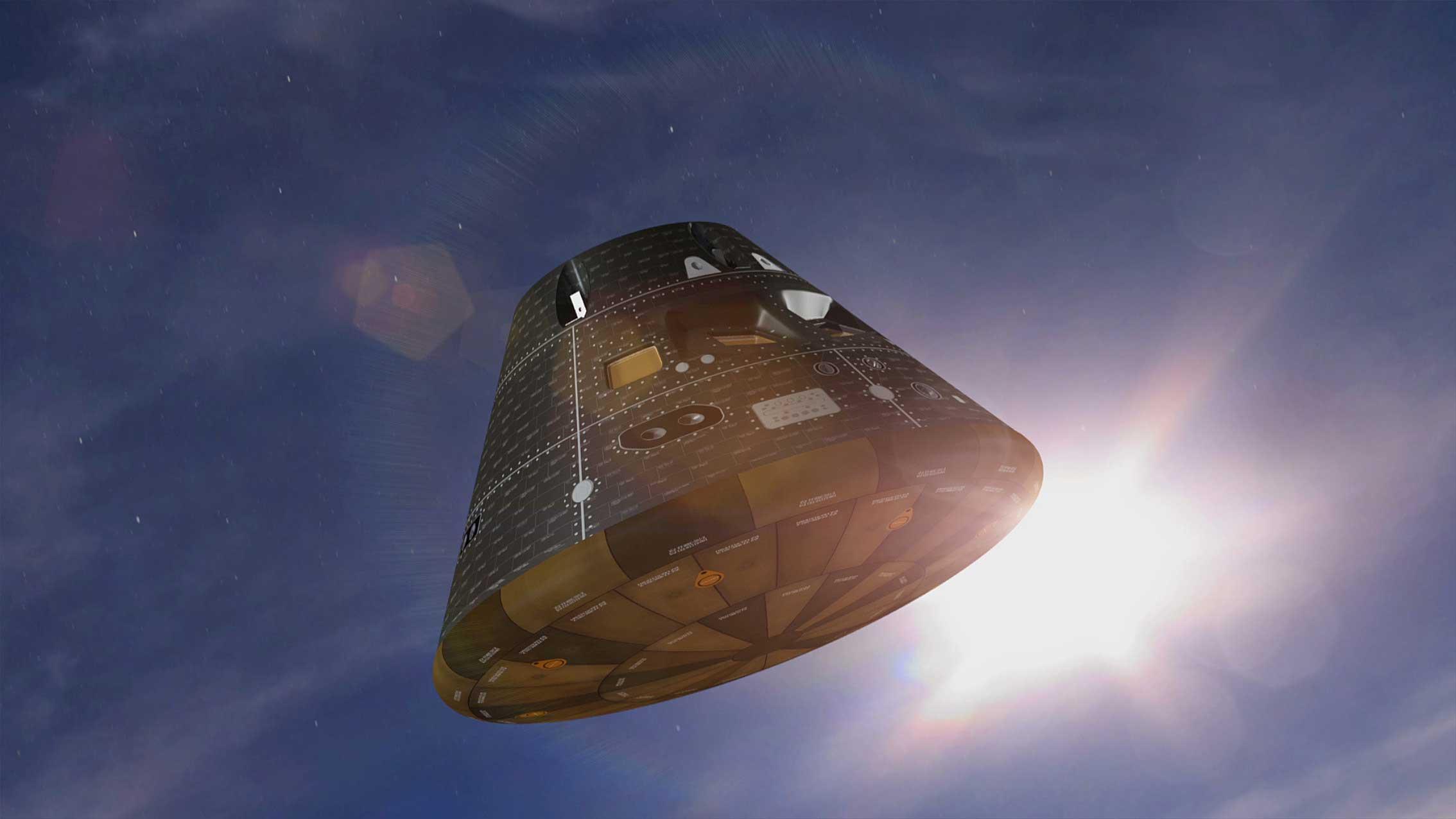 An artist's illustration of Orion's Flight Test