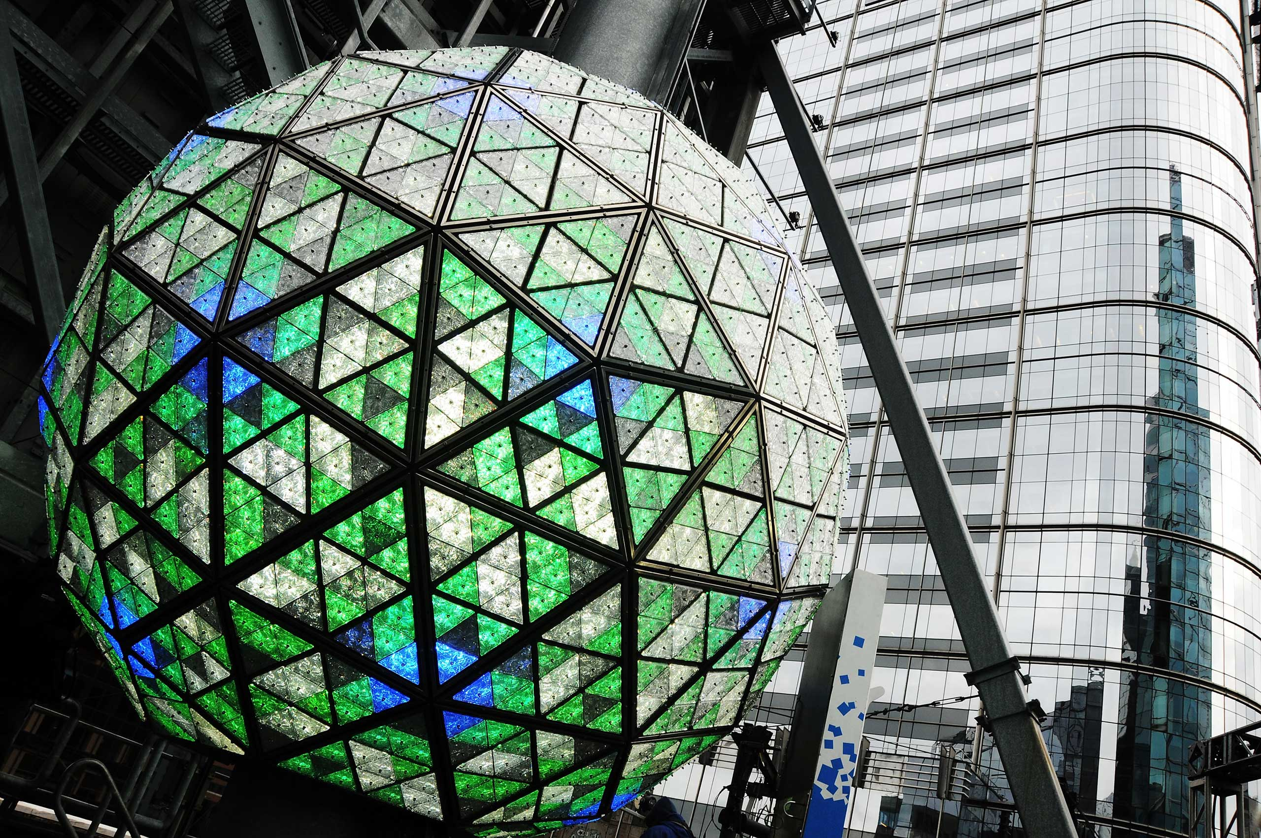 A view of the general atmosphere at the 2014 New Year's Eve Philips Ball Test at One Times Square in New York City on Dec. 30, 2013.