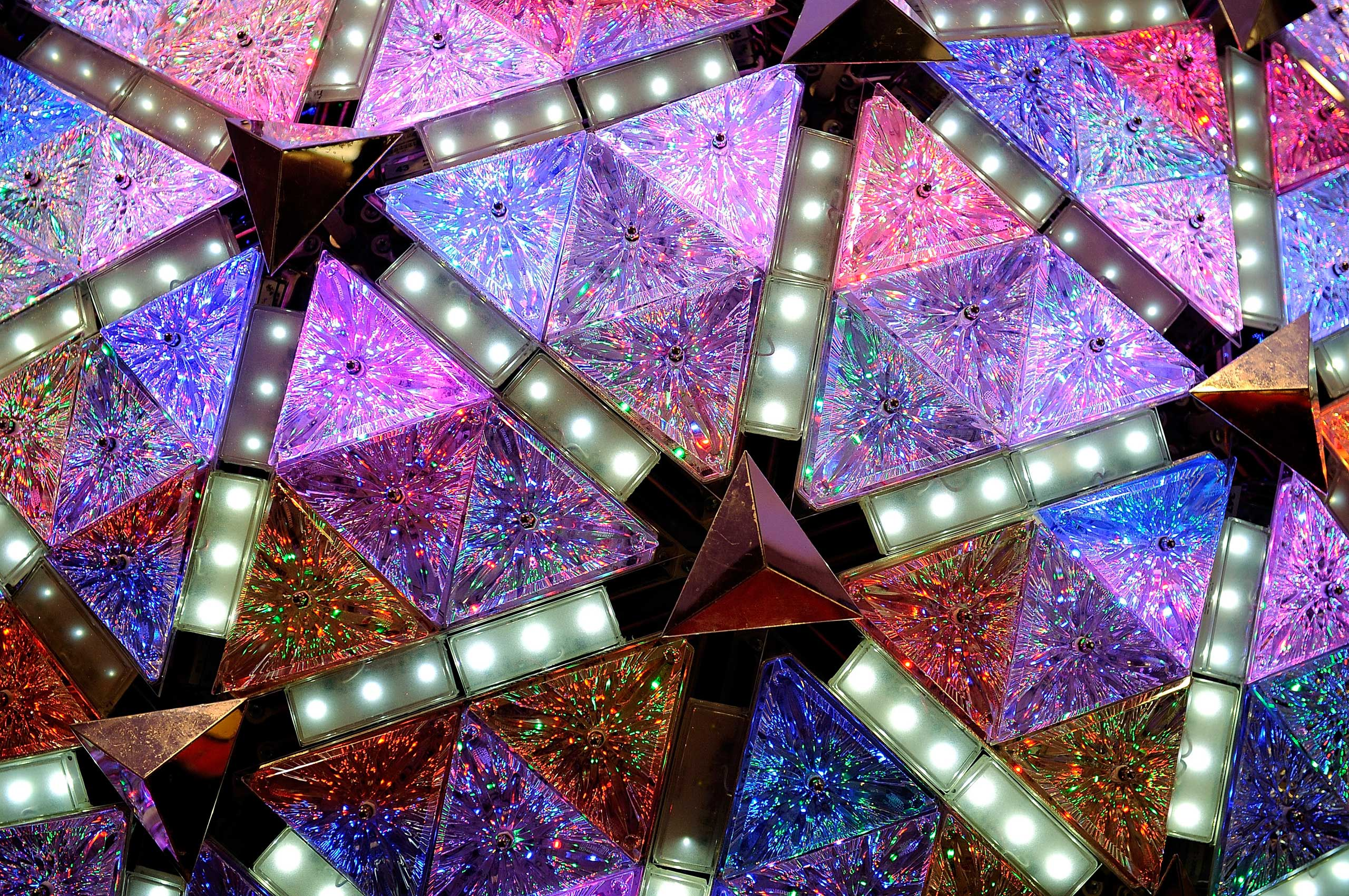The New Year's Eve Ball is displayed at the Macy's Store in Herald Square before moving to Times Square for New Years celebrations, in New York City on Nov. 5, 2008.