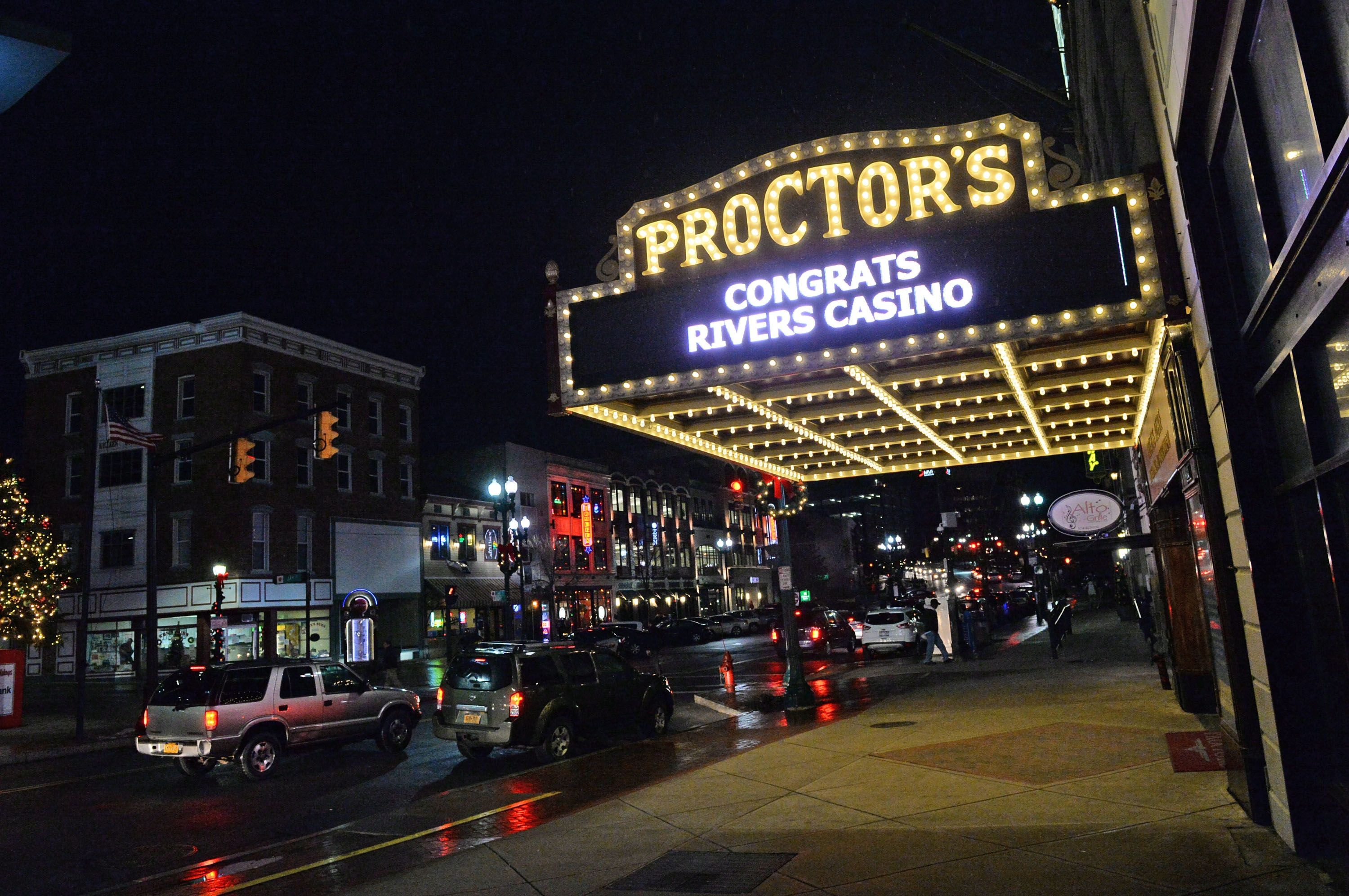 The Proctors Theater marquee displays a celebratory message after a New York State board announced earlier on Dec. 17, 2014, that the former Alco site in  Schenectady, N.Y., would be recommended for a casino