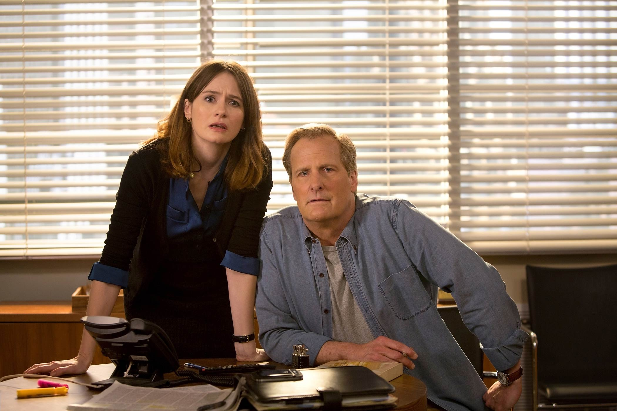 From left: Emily Mortimer as MacKenzie McHale and Jeff Daniels as Will McAvoy in The Newsroom