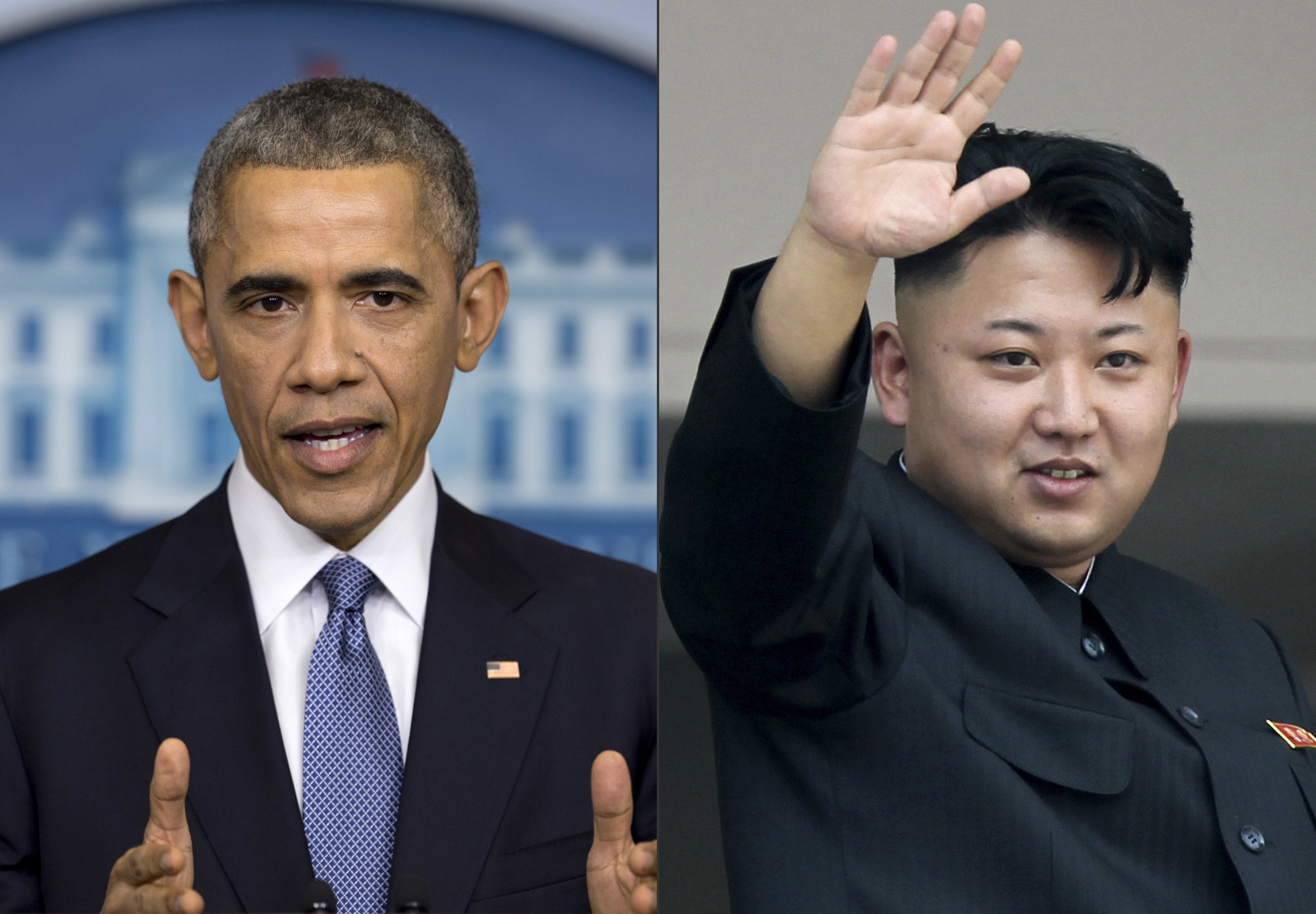 U.S. President Barack Obama, left, and North Korean leader Kim Jong Un.