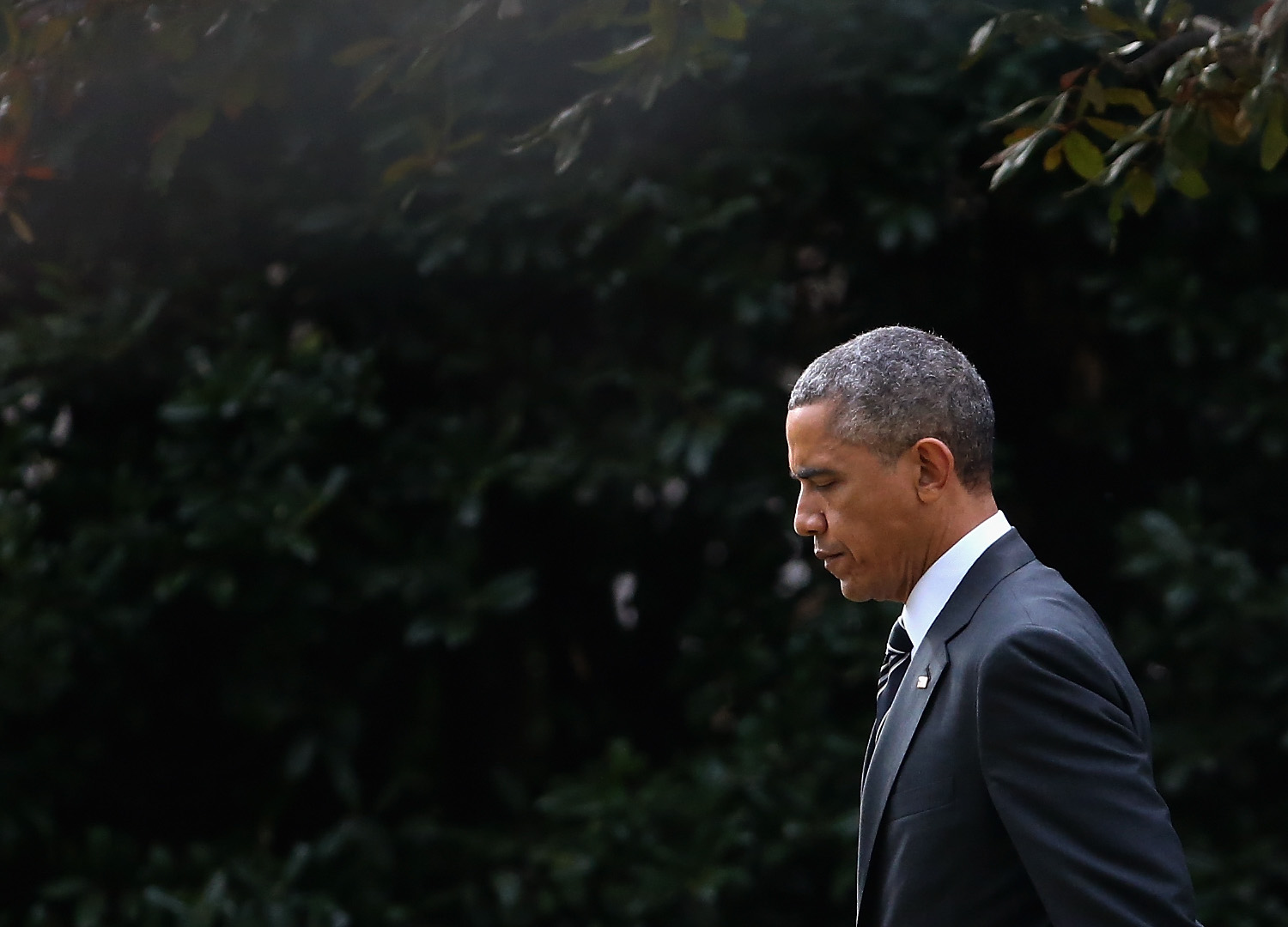 President Barack Obama walks toward Marine One while departing the White House on Nov. 25, 2014 in Washington, DC.