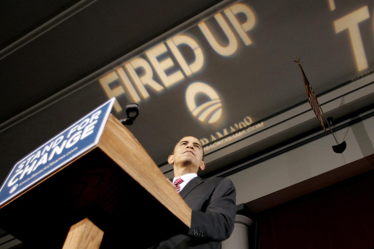 Barack Obama speaks during a rally in Cedar Rapids, Iowa, on Jan. 2, 2008.