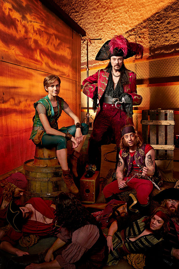 From left to right: Allison Williams as Peter Pan, Christopher Walken as Captain Hook, Christian Borle as Smee.