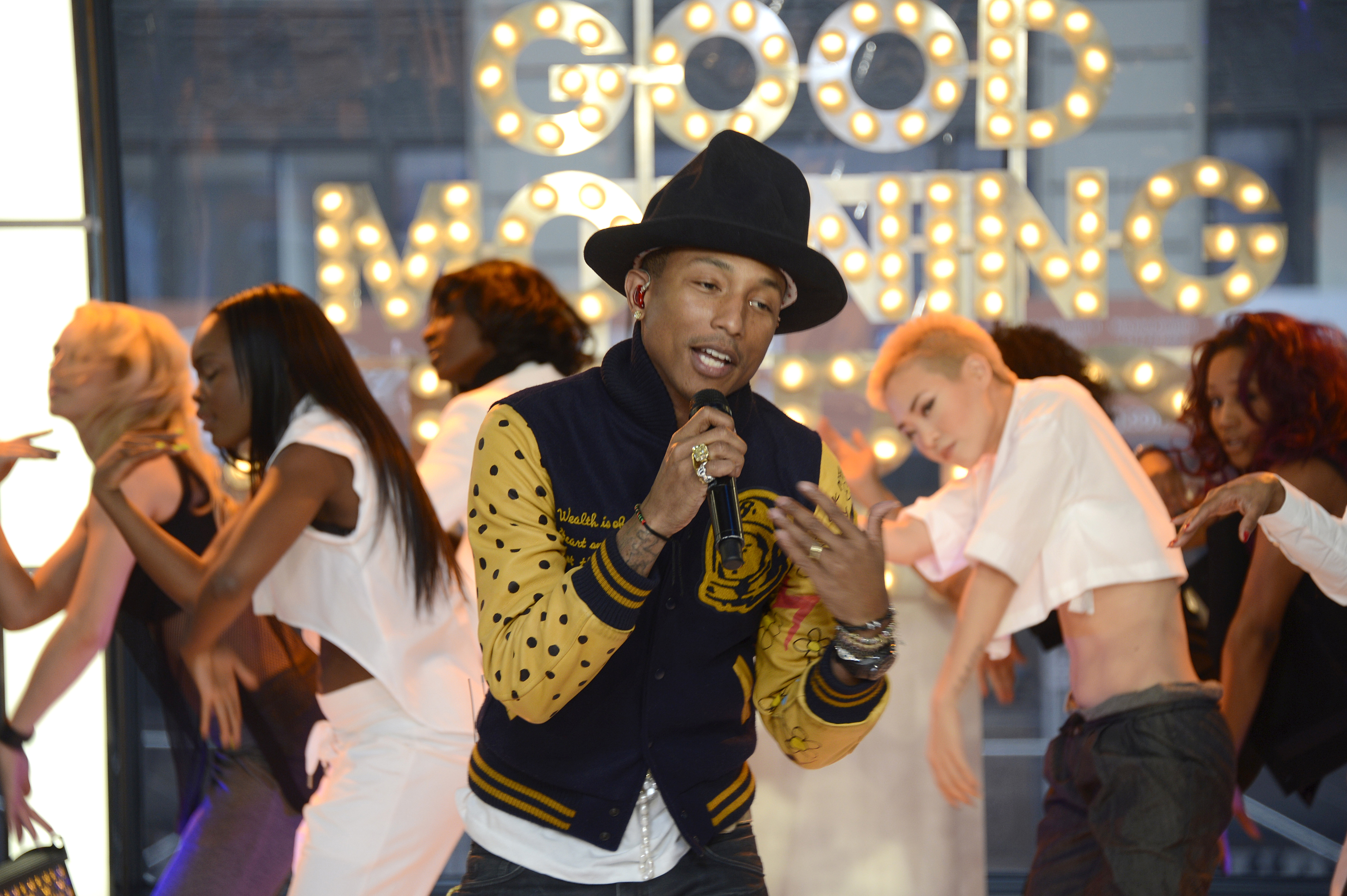 GMA gets  Happy  with a special live concert featuring Pharrell Williams on the roof and in the studio