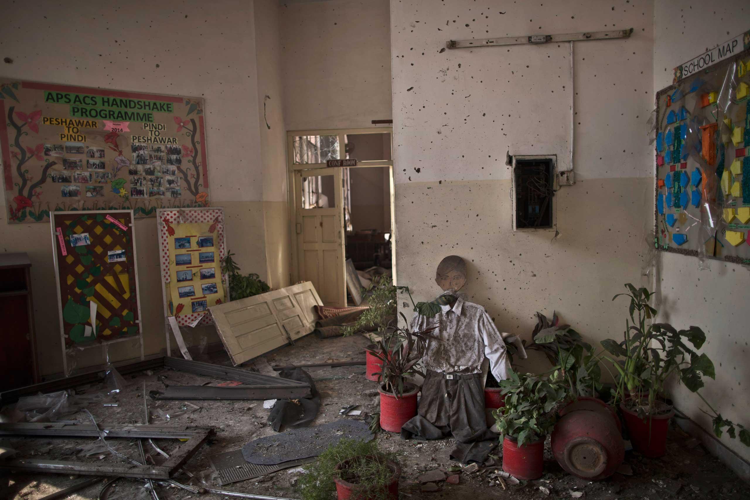 Dec. 18, 2014. Damage inside the Army Public School attacked by Taliban gunmen, in Peshawar, Pakistan.