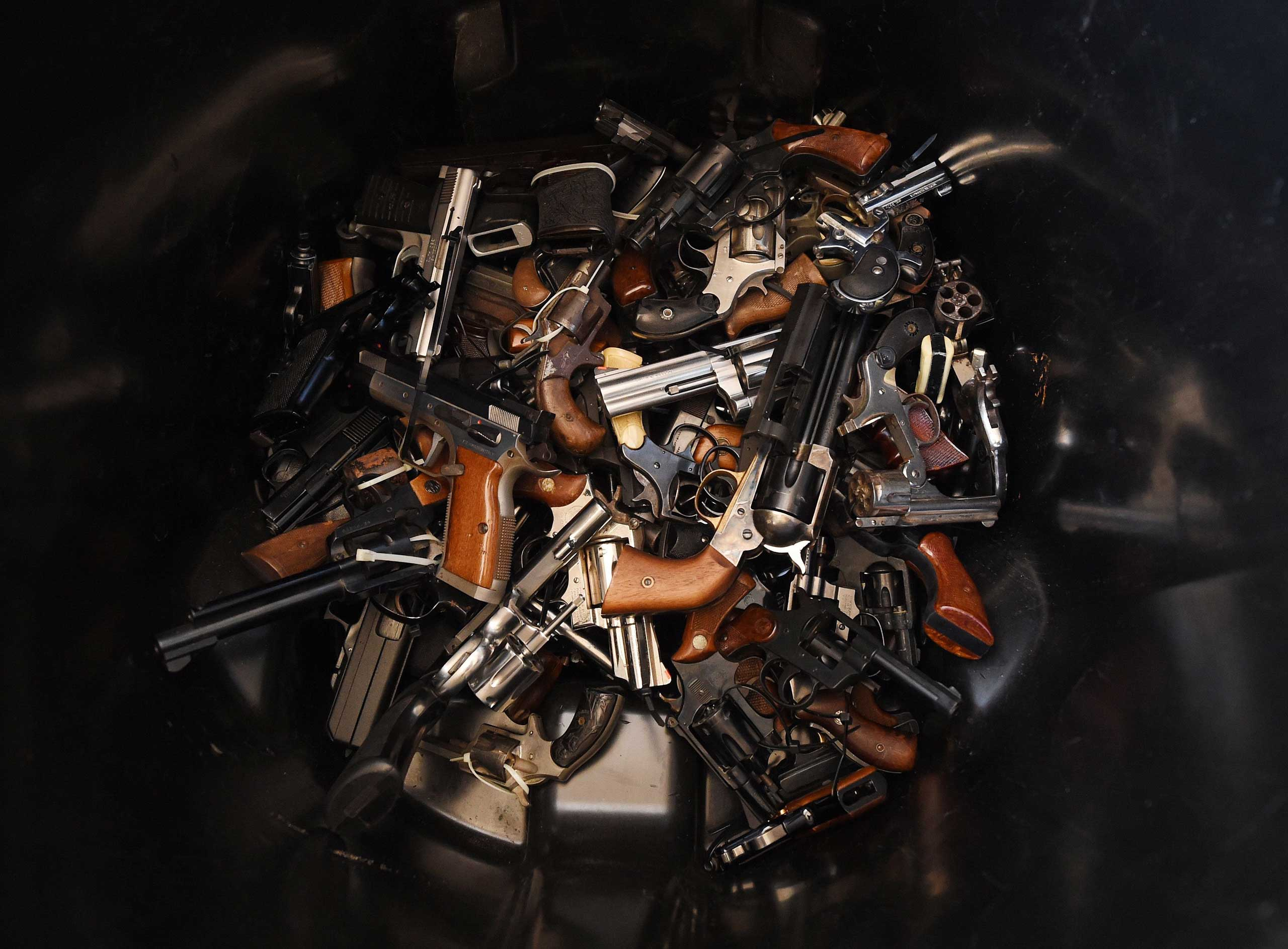 Dec. 13, 2014.                               Handguns that were swapped for gift cards during a Los Angeles Police Department sponsored gun buyback event in Los Angeles, California.