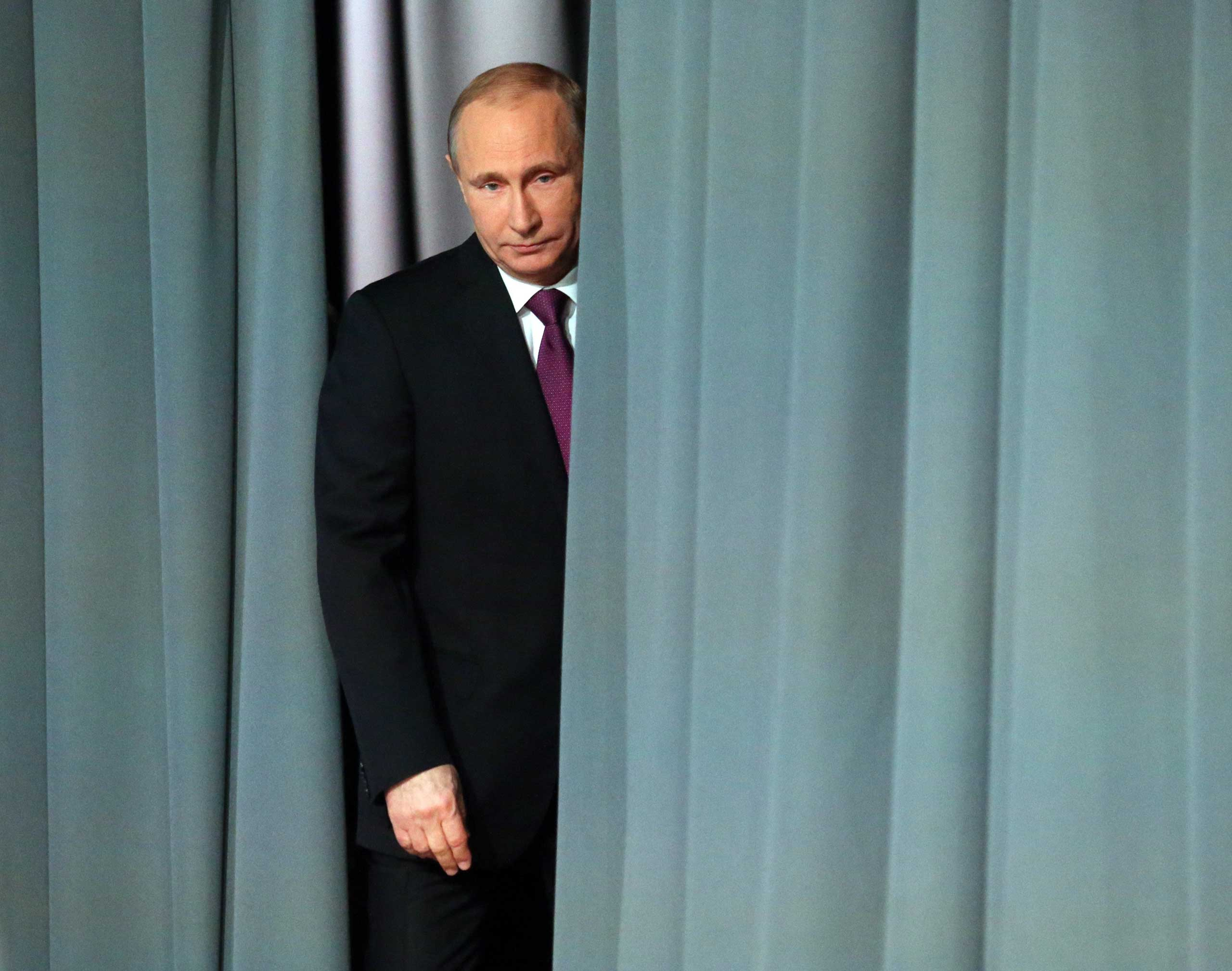 President Vladimir Putin during an annual press conference on Dec. 18, 2014 in Moscow.
