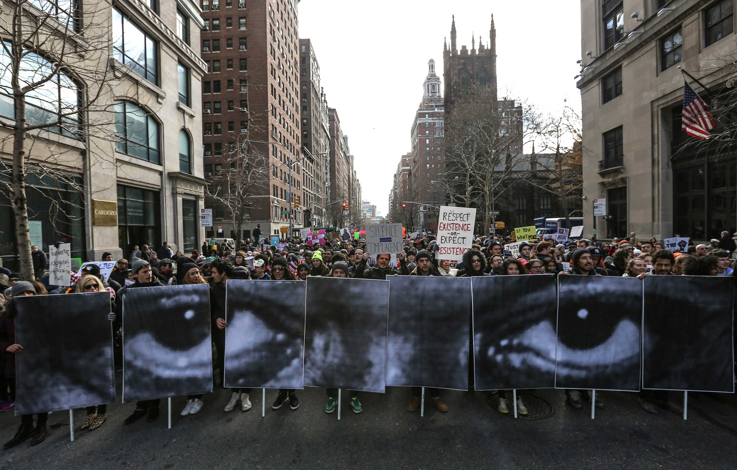 Thousands of people gather at Washington Square to march through Manhattan to protest police violence on Dec. 13, 2014 in New York City.