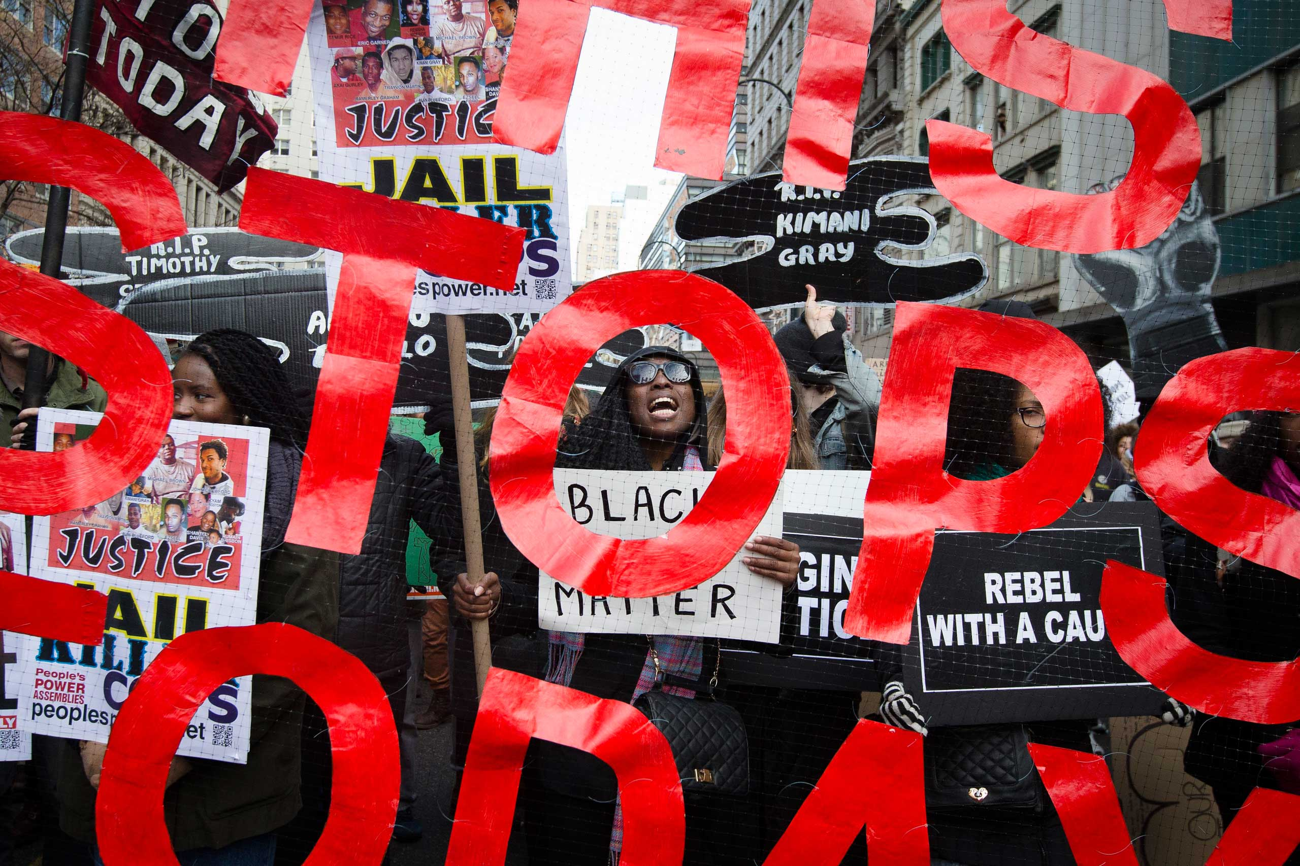 Thousands of protestors demonstrate against police brutality in new York City on Dec. 13, 2014.