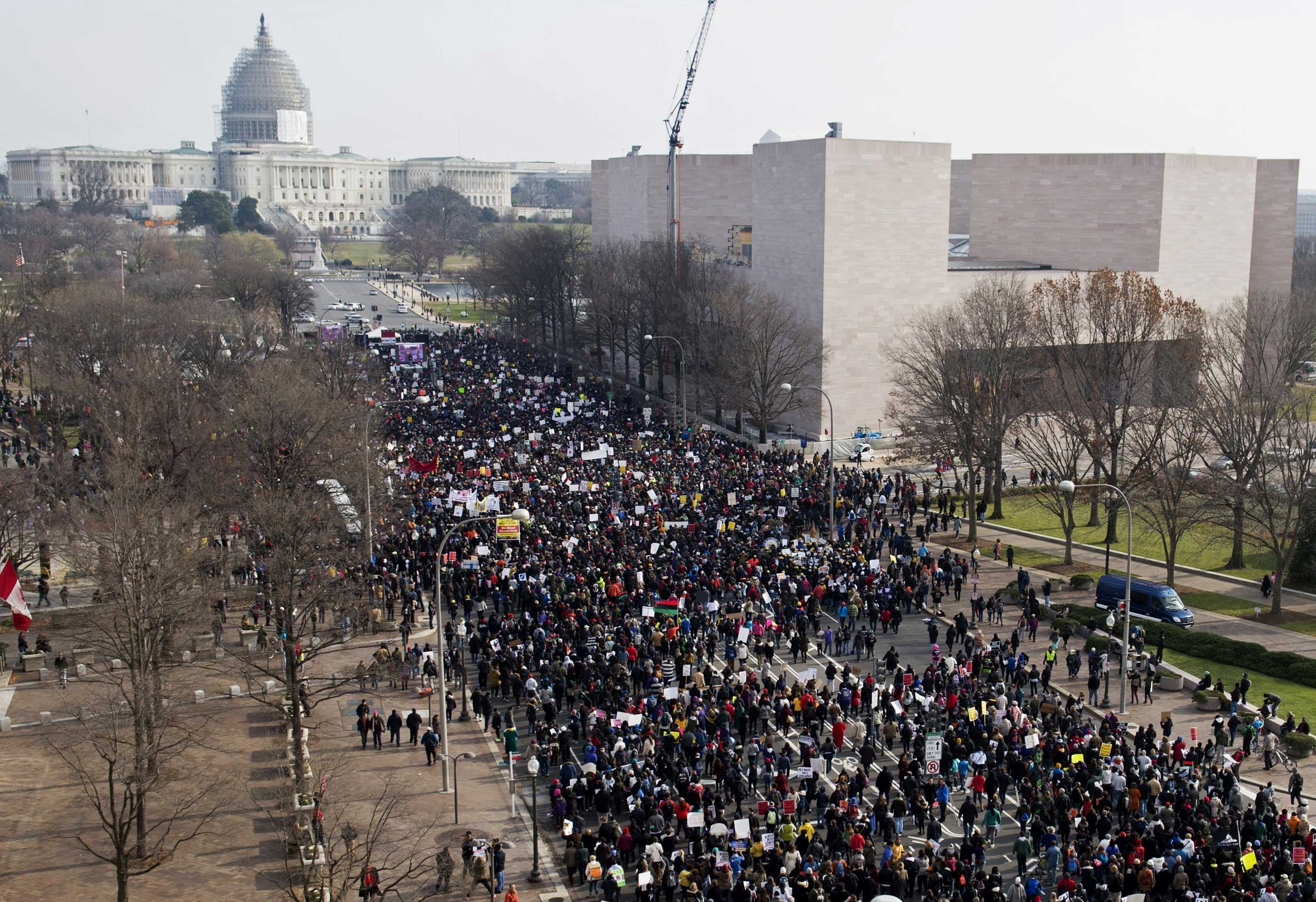 """Thousands take part in the """"Justice for All"""" march and rally down Pennsylvania Avenue to the U.S. Capitol in Washington D.C. on Dec. 13, 2014."""