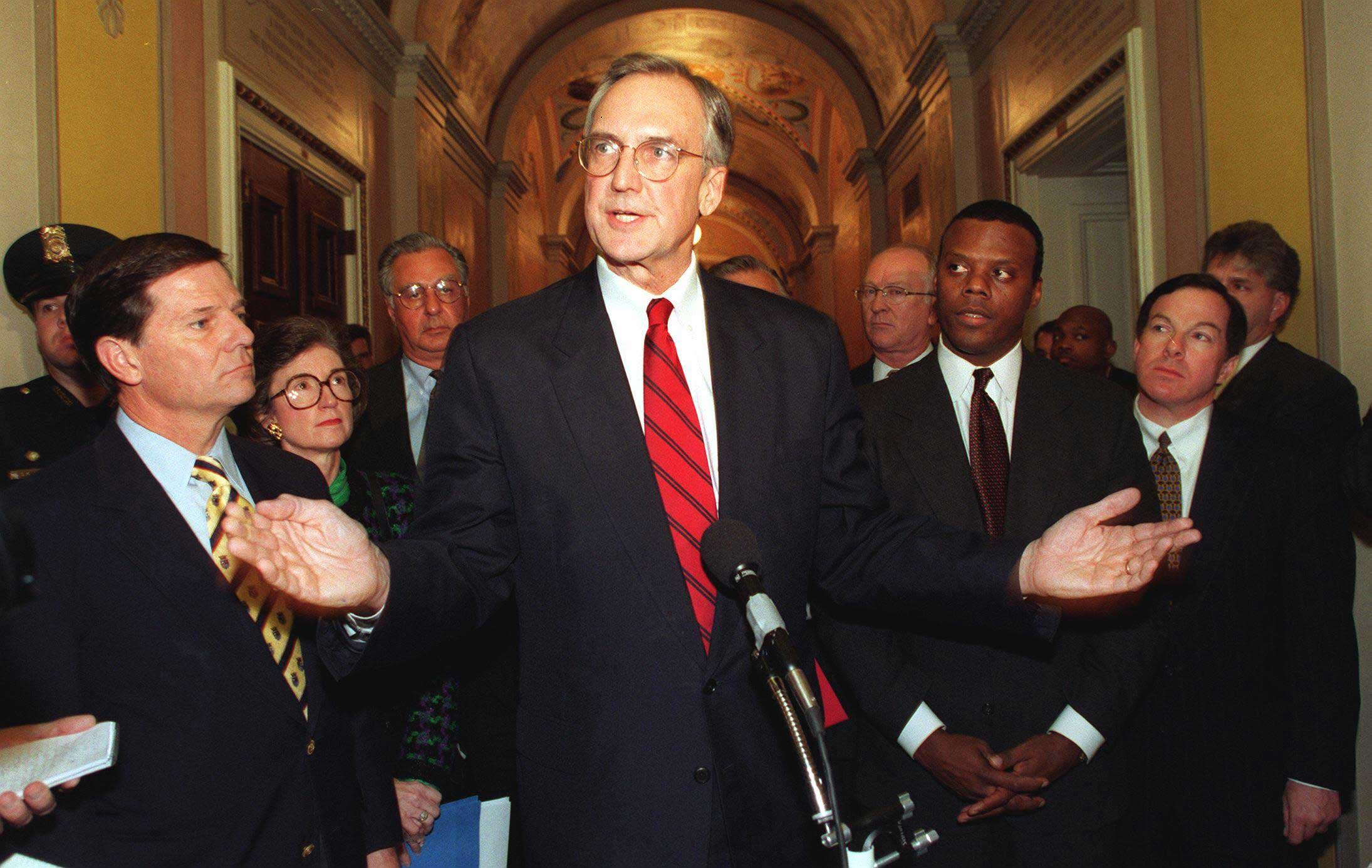 Rep. Bob Livingston (R-La.) faced a sex scandal at the exact worst time: right as Republicans were calling for the impeachment of President Clinton. Livingston stepped down from the speakership in 1998 amid threats that details of his own affairs would be brought to light.