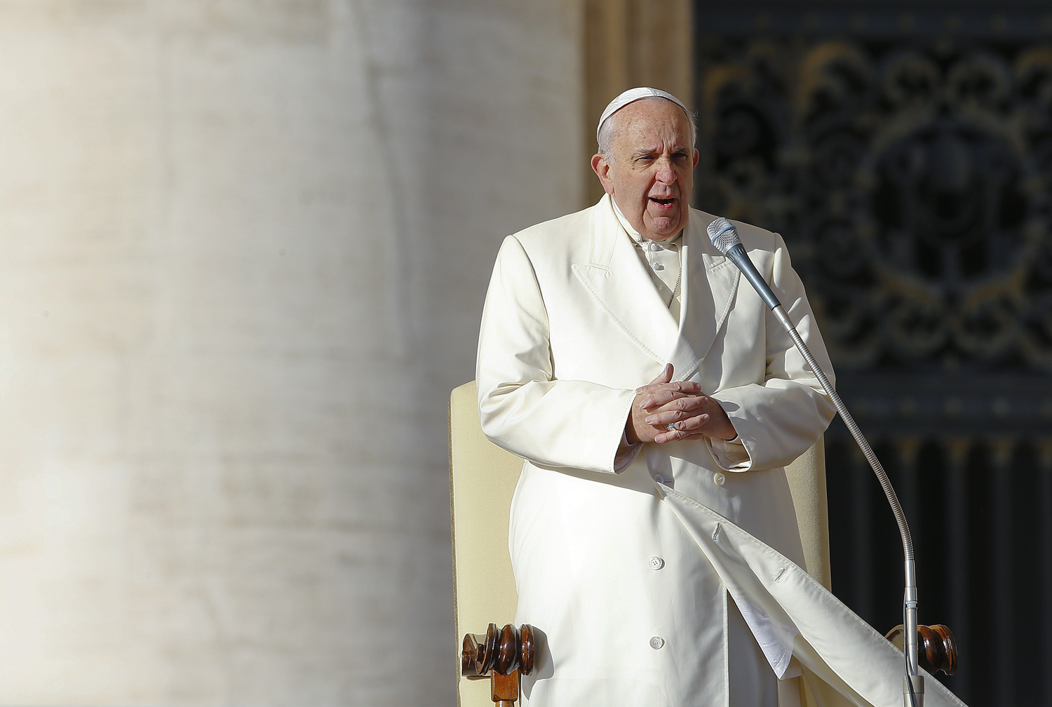 Pope Francis leads his Wednesday general audience in St. Peter's Square at the Vatican on Dec. 10, 2014