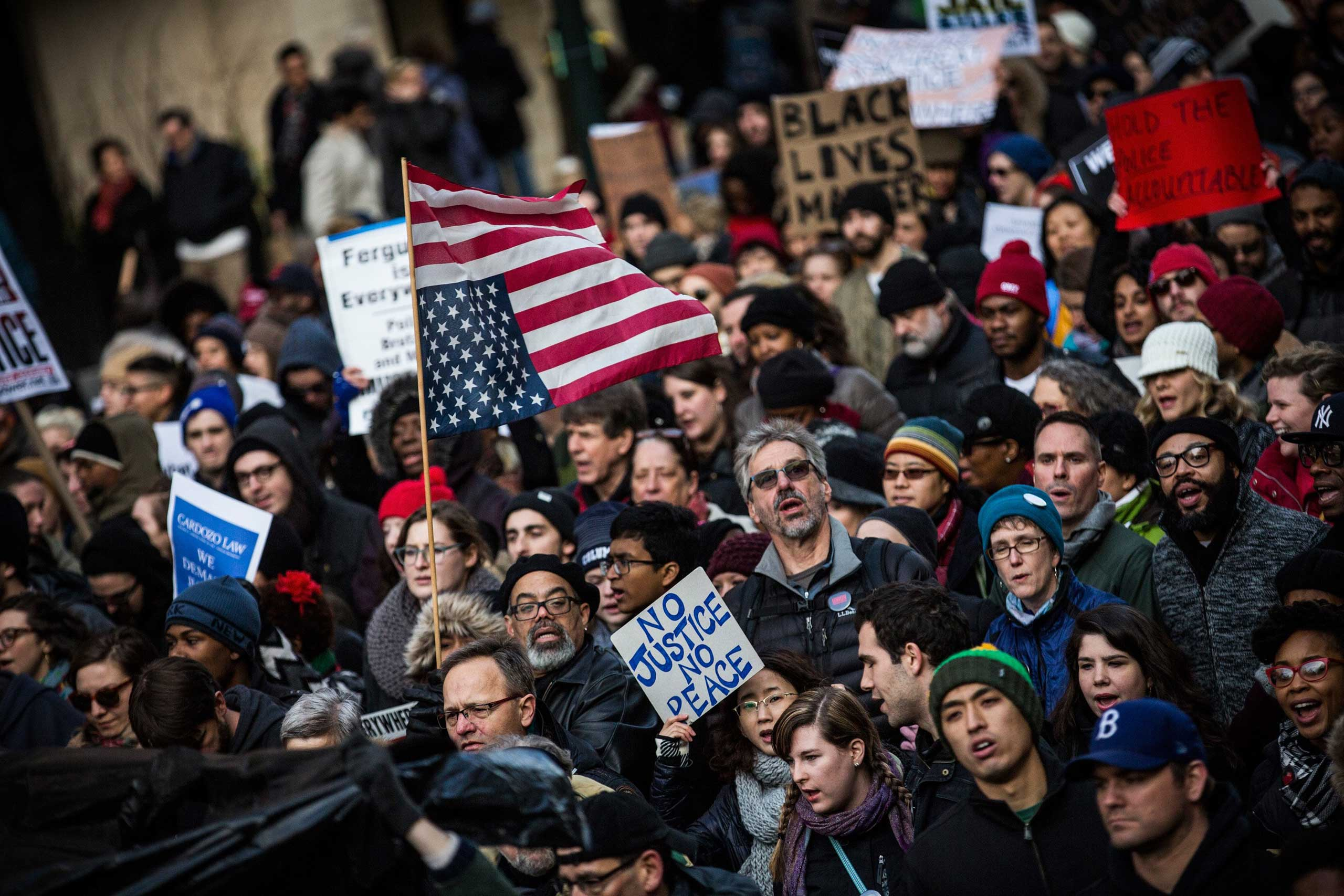 People march in the National March Against Police Violence on Dec. 13, 2014 in New York City.
