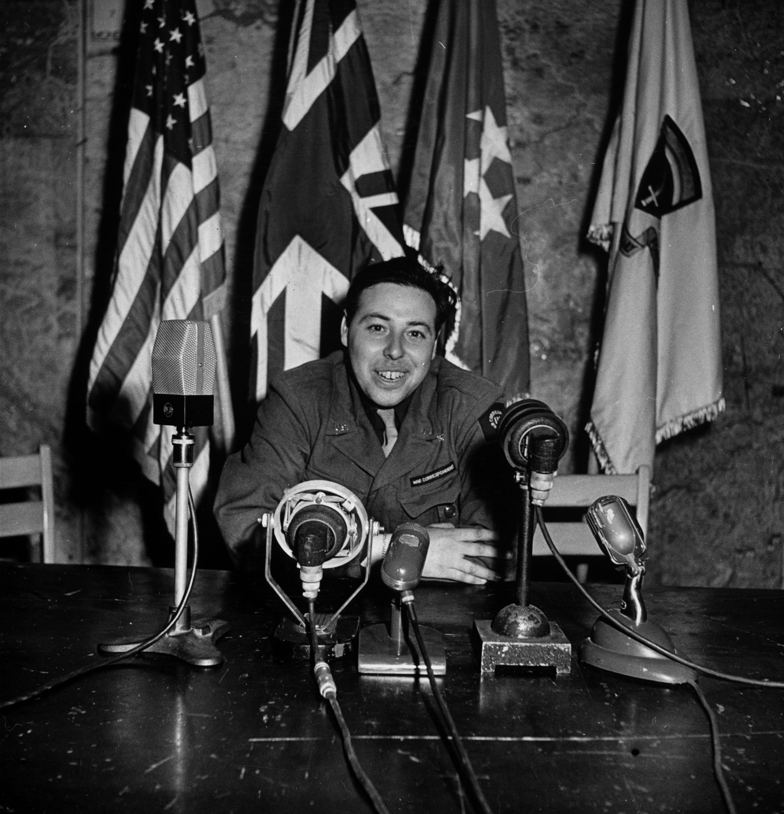 LIFE photographer and war correspondent Ralph Morse in the same chair from which General Eisenhower announced Allied victory in Europe.