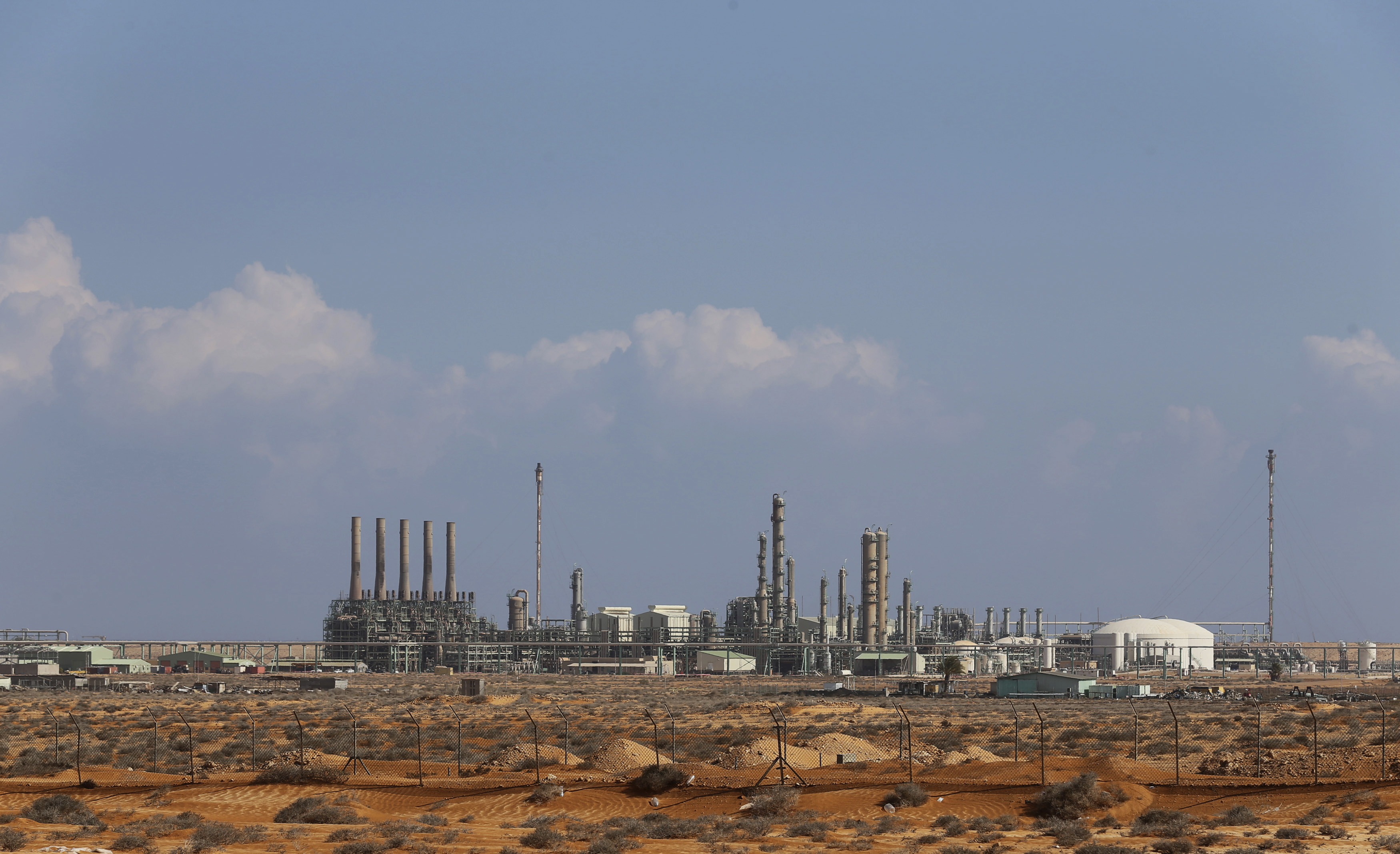 General view of the industrial zone at the oil port of Ras Lanuf on March 11, 2014.