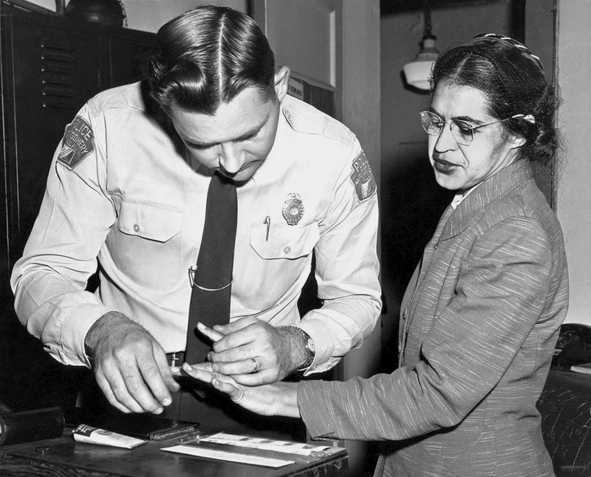 Rosa Parks being fingerprinted in Montgomery, Ala., in 1956