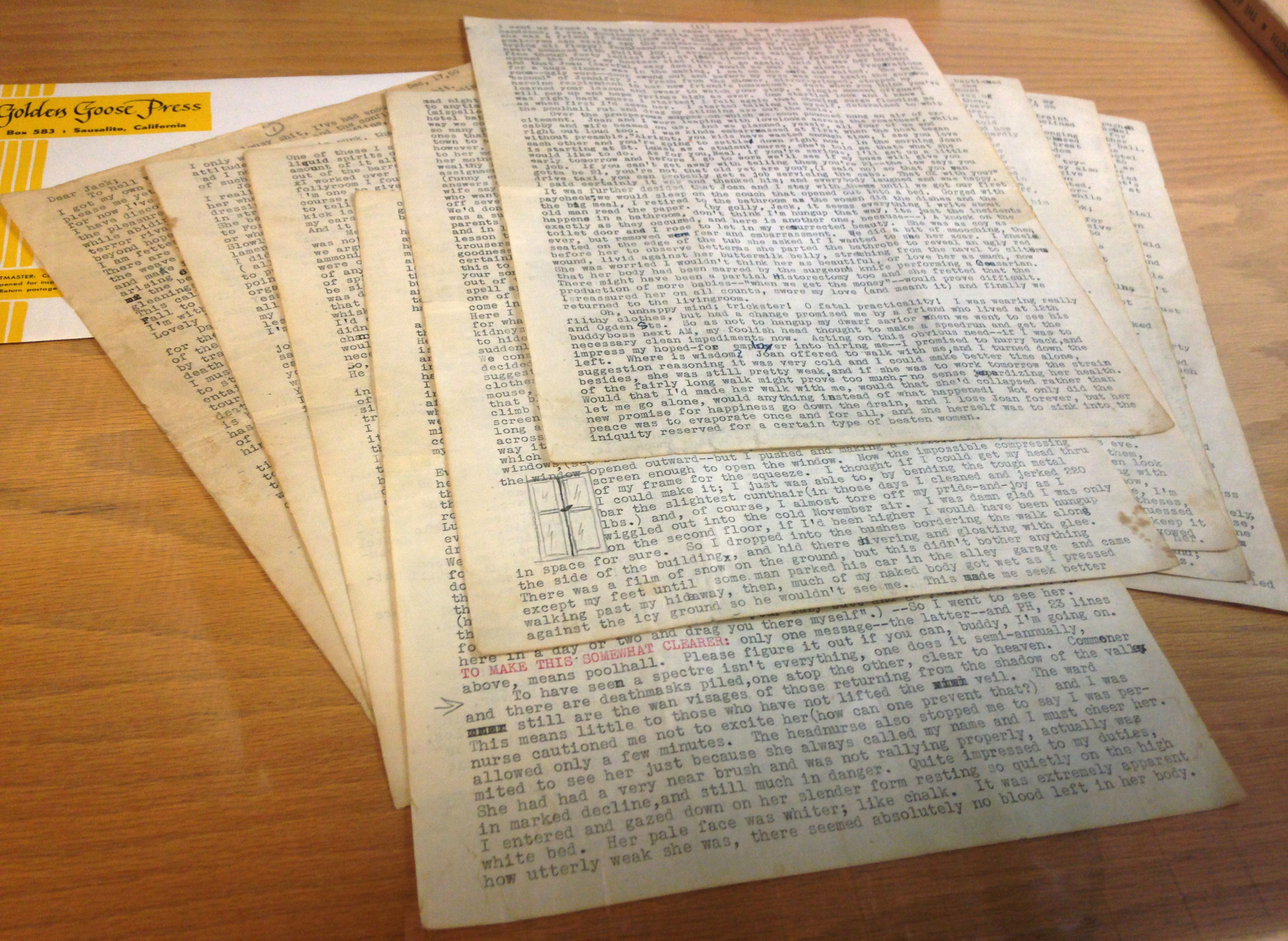 An 18-page letter written by Beat-era icon Neal Cassady, which transformed Jack Kerouac's writing style, is shown in San Francisco, California, Dec. 1, 2014