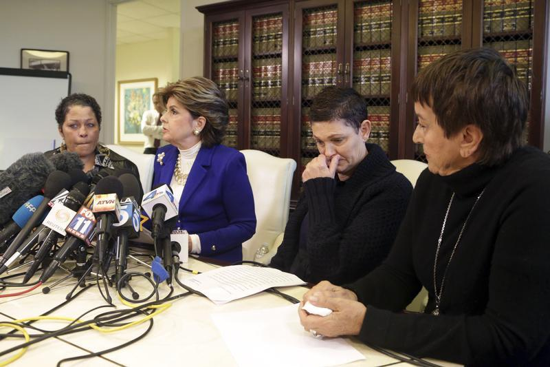 A woman who gave her name only as Chelan, left,  Beth Ferrier, second right, Helen Hayes, right and their attorney Gloria Allred attend a news conference in Los Angeles on Dec. 3, 2014