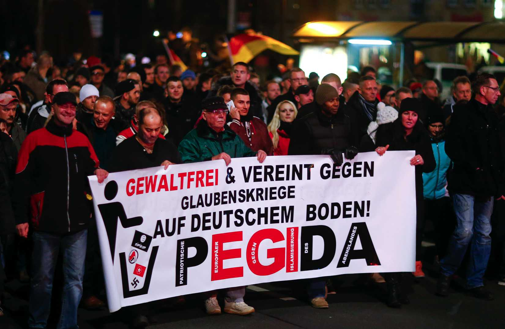 Participants hold a banner during a demonstration called by anti-immigration group Patriotic Europeans Against the Islamization of the West (Pegida) in Dresden, Germany, on Dec. 15, 2014