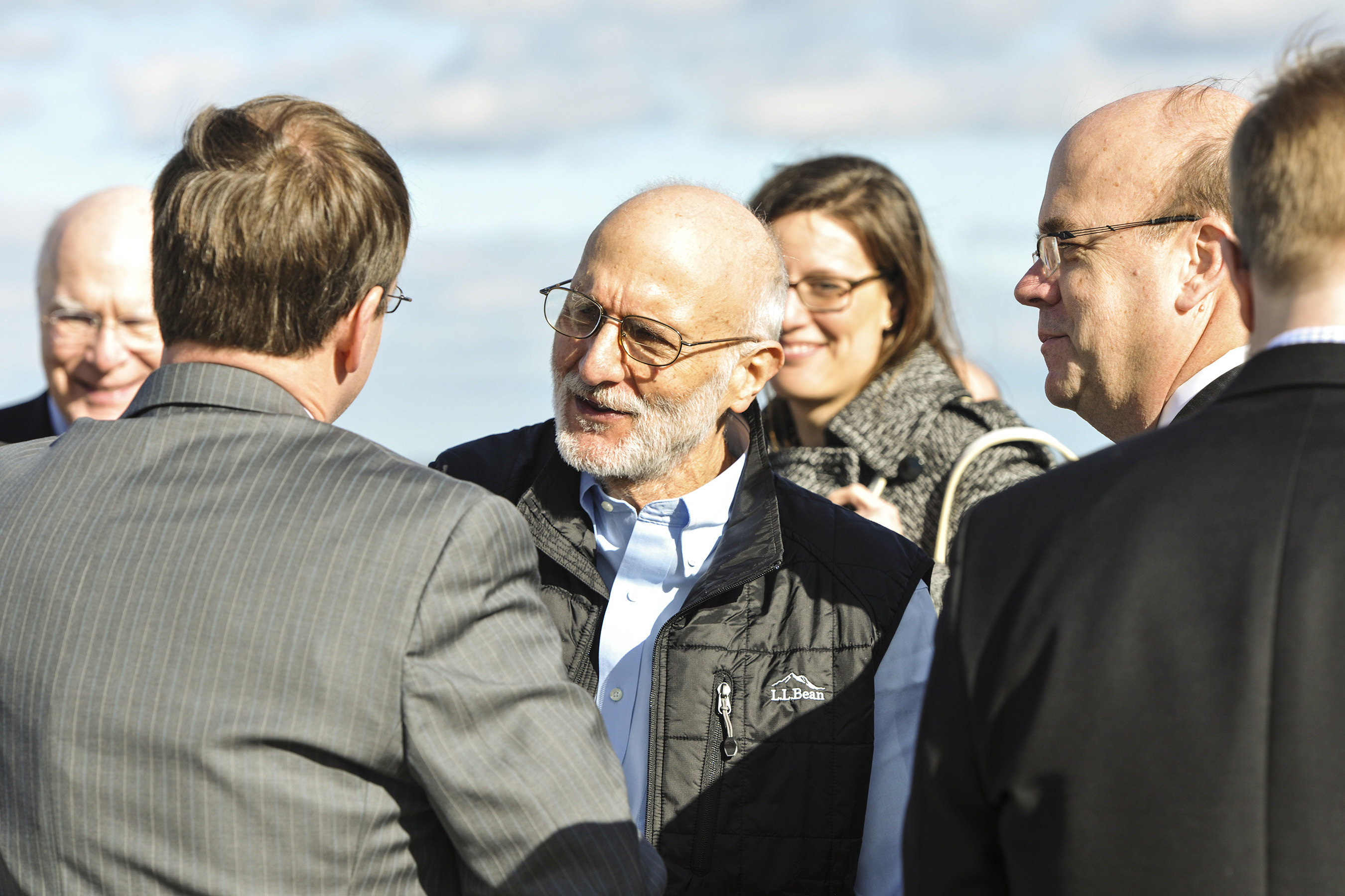 Alan Gross speaks to an entourage of family and friends who were awaiting his return from five years of captivity in Cuba to Joint Base Andrews, Maryland, Dec. 17, 2014
