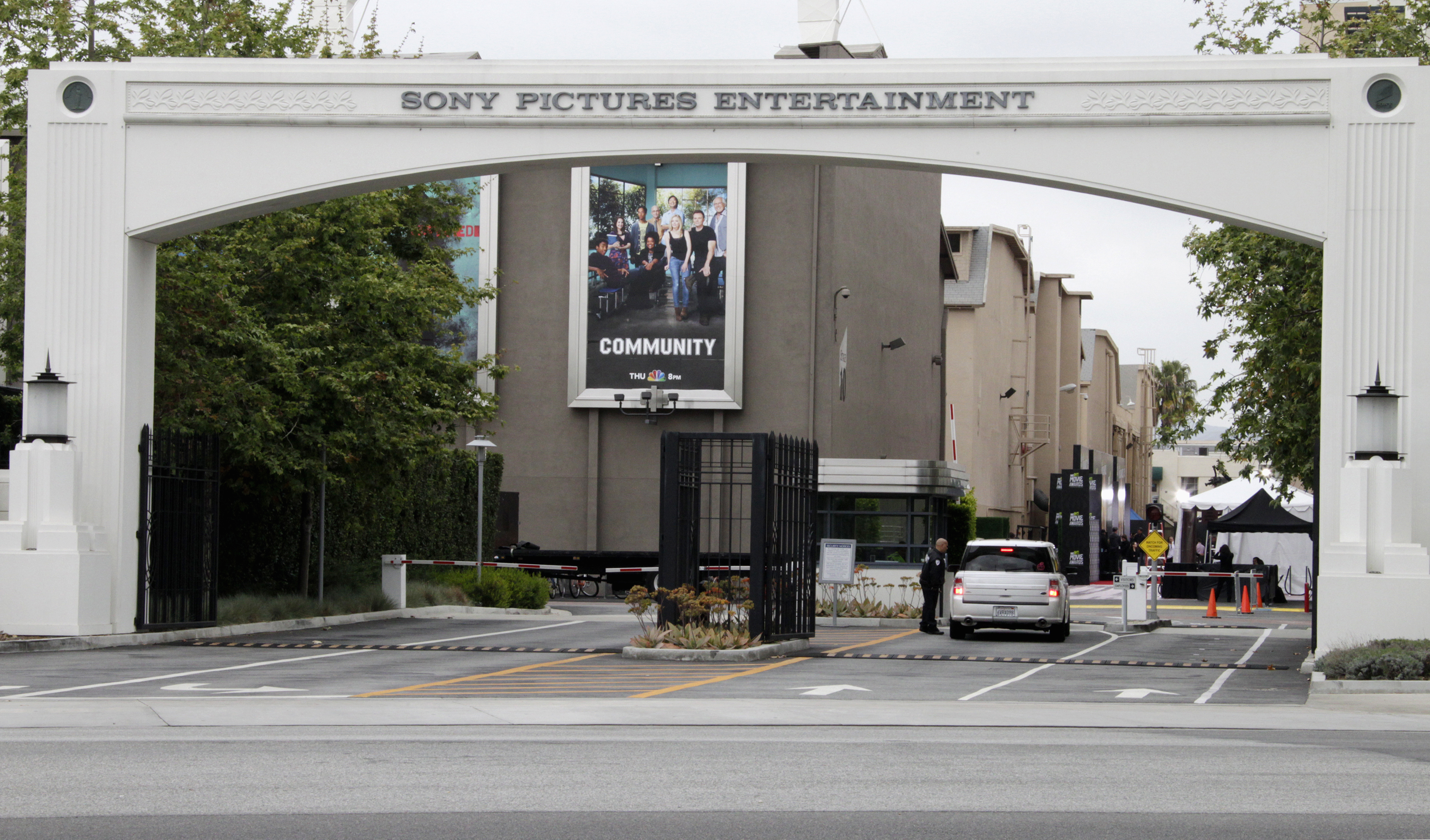 An entrance gate to Sony Pictures Entertainment at the Sony Pictures lot is pictured in Culver City, Calif., on April 14, 2013