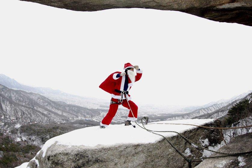Christmas rock-climbing
