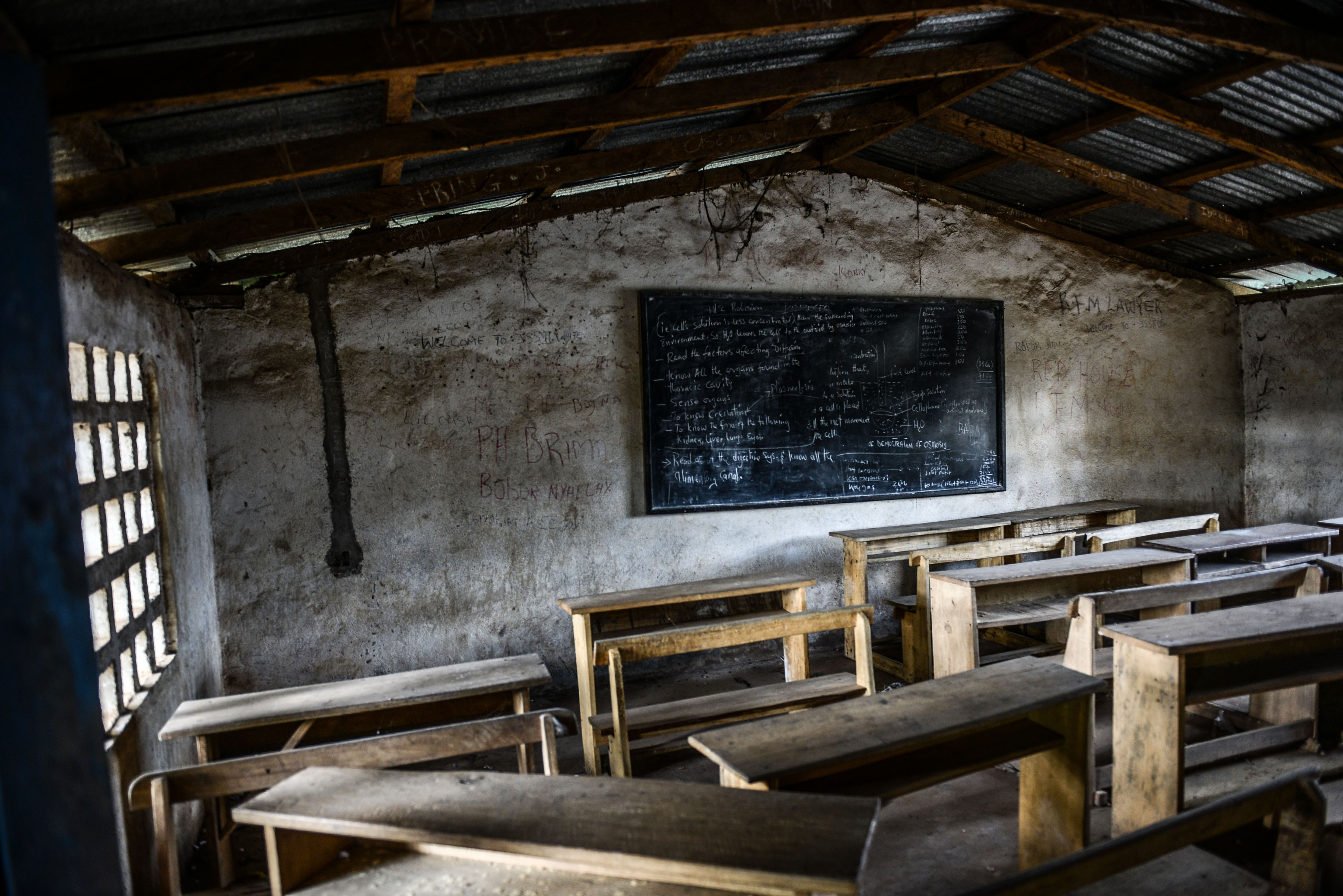 A classroom of a school stands abandoned on Aug. 25, 2014 in Kenema, Sierra Leone. Schools closed and villages quarantined after dozens of its congregation died with Ebola symptoms.