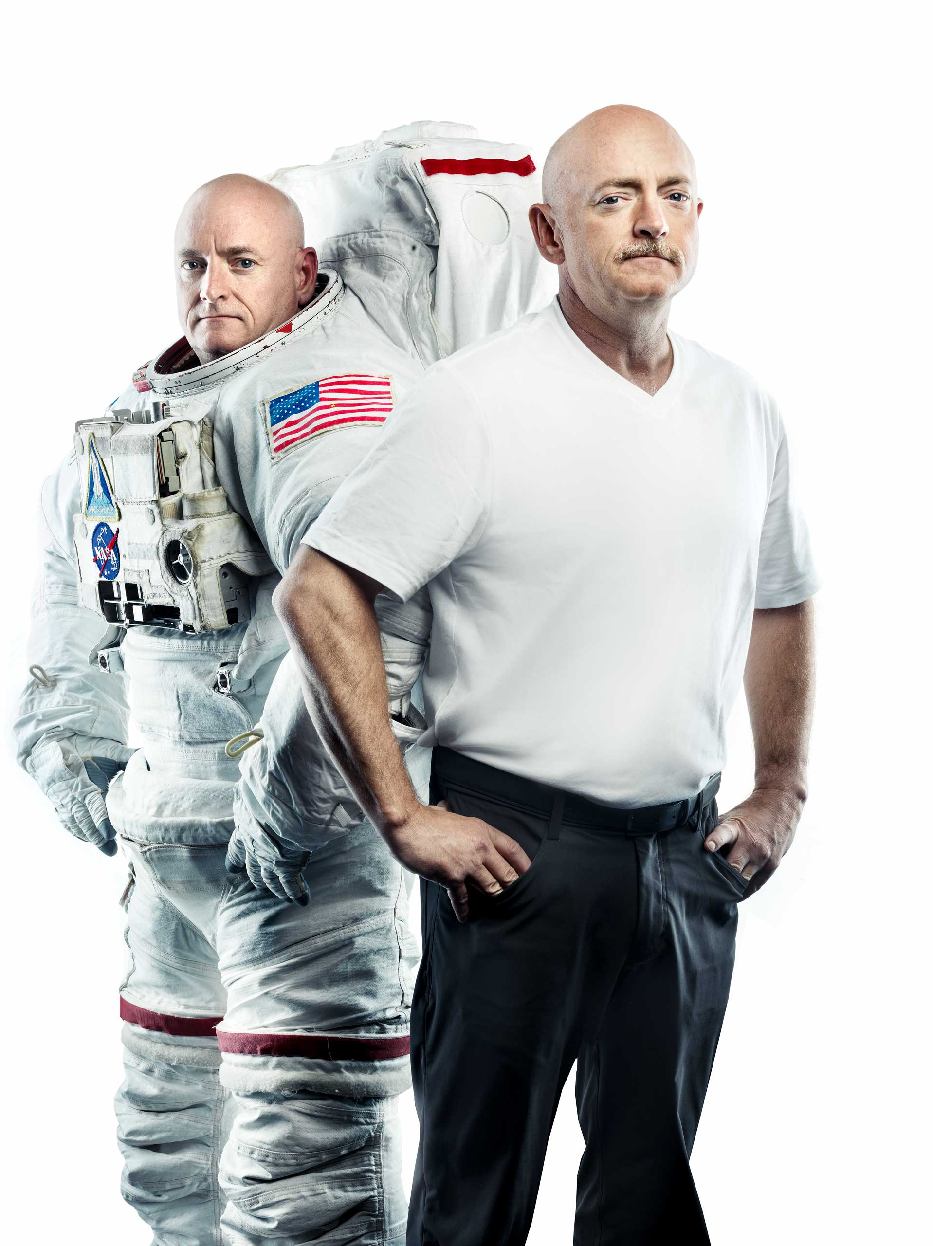 Astronaut twins Scott (left) and Mark Kelly (right)