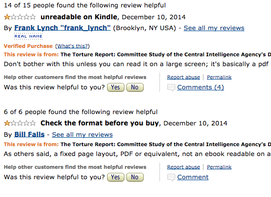 Reviews on Amazon.com about the Senate torture report