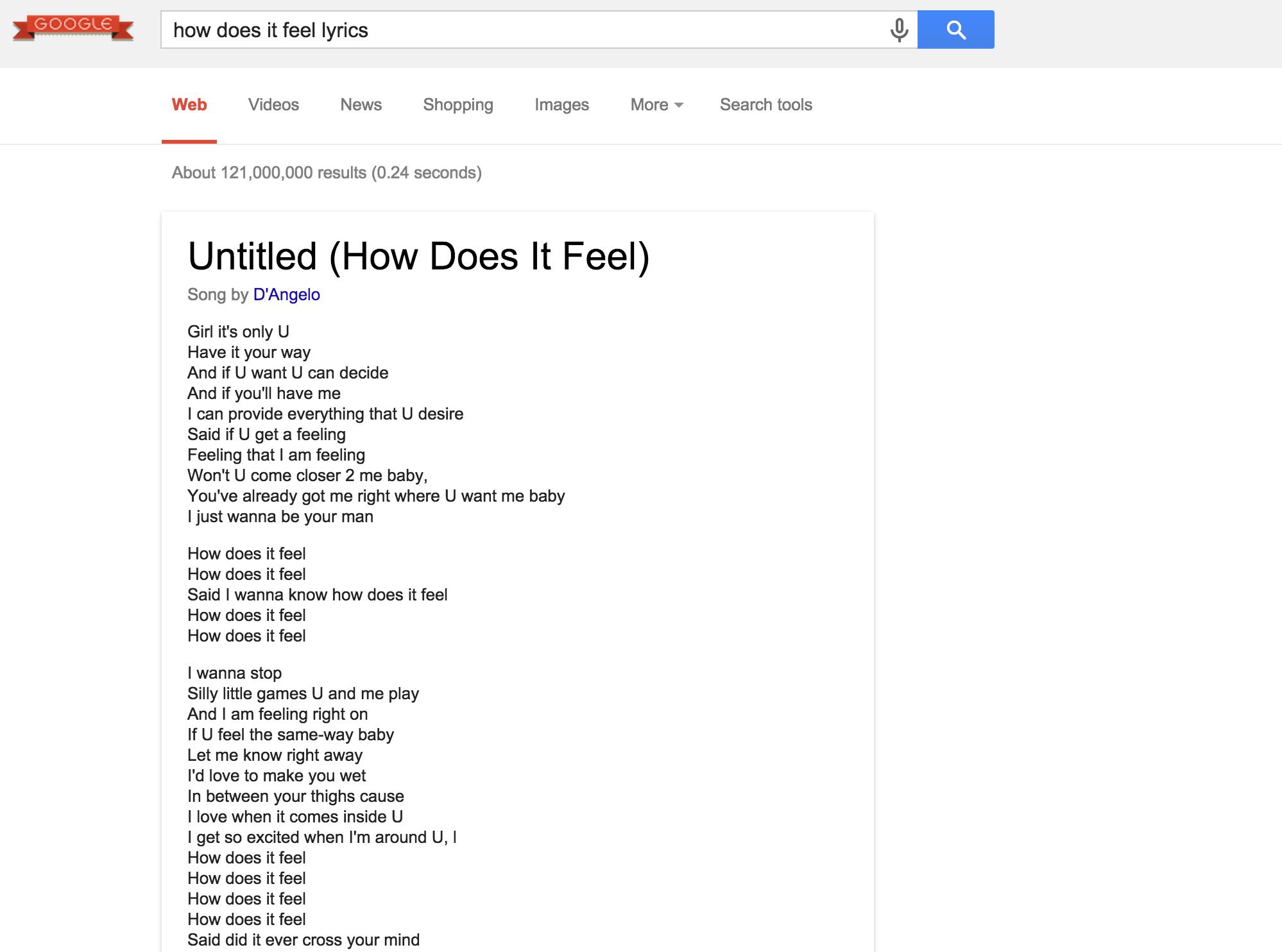 Google lyrics displays D'Angelo's  How Does it Feel